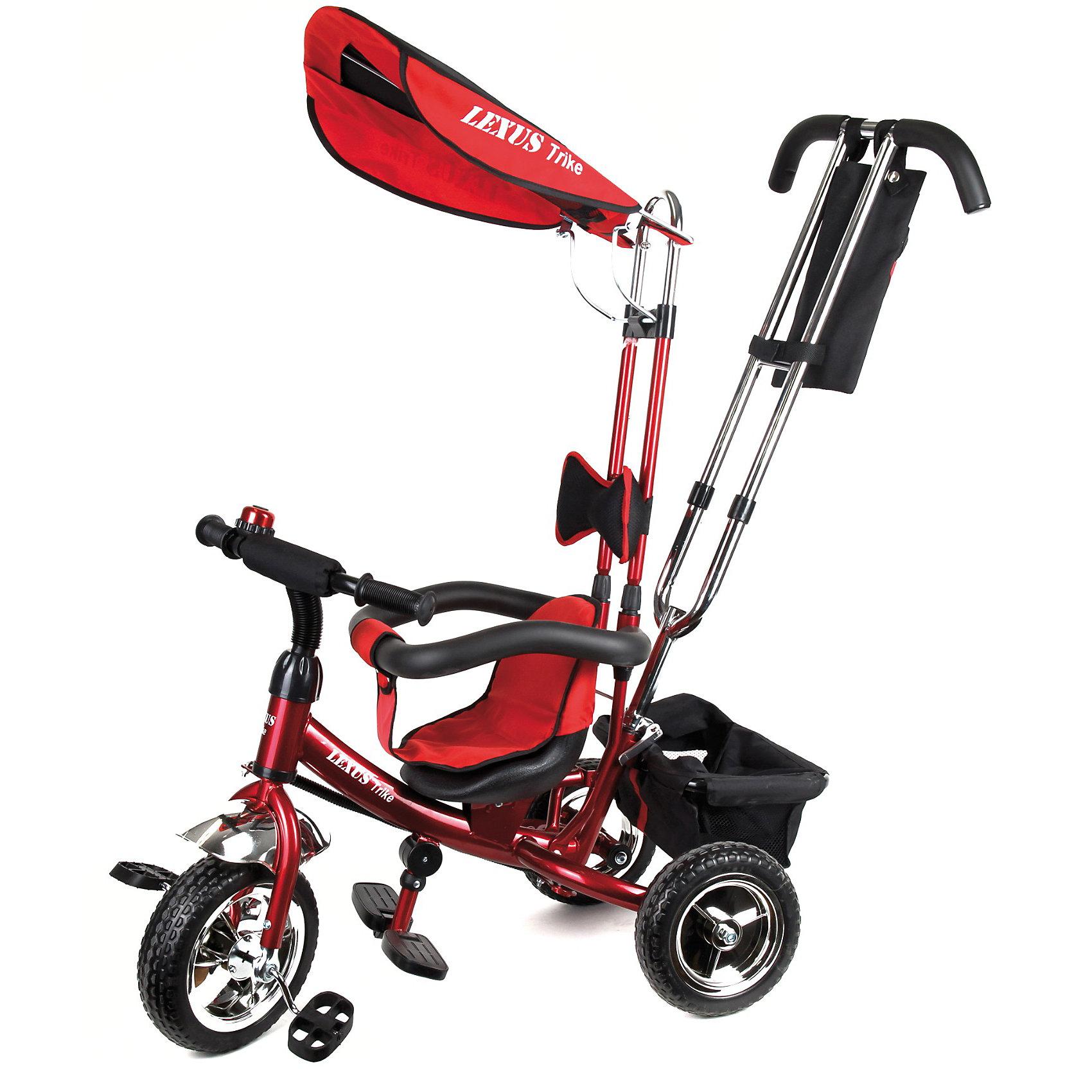 Lexus Trike Трехколесный велосипед, бордовыйКрасивый, стильный и удобный детский трехколесный велосипед от Lexus Trike!<br><br>Особенности модели:<br><br>- Надежная стальная рама, усиленная дополнительными ребрами жесткости.<br>- Широкие пластиковые колеса с шинами ПВХ.<br>- Устойчивые к износу металлические втулки на оси переднего колеса снабжены высококачественными подшипниками.<br>- Удобное сиденье с высокой спинкой и мягкой тканевой накладкой.<br>-Съемная дуга безопасности.<br>- Родительская ручка управления с регулируемой металлической тягой, позволяющей менять угол поворота переднего колеса.<br>- Складная подножка.<br>- Задняя корзина из плотной ткани на металлическом каркасе.<br>- Практичная сумка с креплением на ручке управления.<br>- Тент от солнца и дождя из ткани со специальной пропиткой.<br>-Все элементы из ткани легко снимаются для стирки.<br><br>Дополнительная информация:<br><br>- Материалы: рама- сталь, шины-ПВХ, тент и корзина - текстиль.<br>- Цвет: бордовый.<br>-Размеры велосипеда: высота 90см., длина (вид сбоку) 85см.<br>- Вес: ок. 11 кг.<br><br>Lexus Trike Трехколесный велосипед, бордовый можно купить в нашем магазине.<br><br>Ширина мм: 700<br>Глубина мм: 270<br>Высота мм: 440<br>Вес г: 11000<br>Возраст от месяцев: 12<br>Возраст до месяцев: 36<br>Пол: Унисекс<br>Возраст: Детский<br>SKU: 3156372