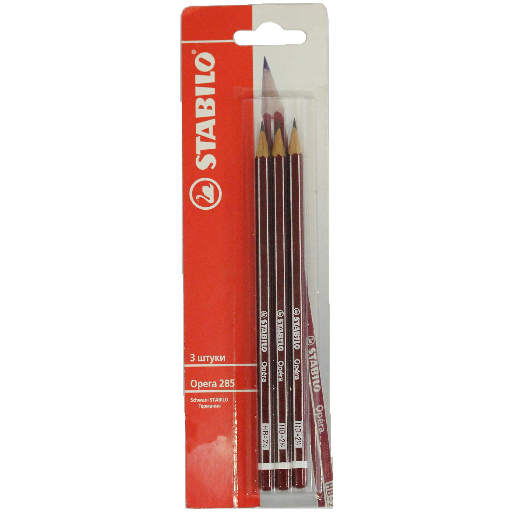 STABILO Opera Карандаши чернографитные, 3штРисование<br>Stabilo Opera набор чернографитных карандашей 3 шт. в блистере.<br>Карандаш высокого качества (HB). Не ломается при письме и затачивании.  Лакированную  поверхность карандаша приятно держать в руках. Стильный, узнаваемый дизайн с продольными полосами на корпусе.<br><br>Ширина мм: 295<br>Глубина мм: 245<br>Высота мм: 160<br>Вес г: 40<br>Возраст от месяцев: 84<br>Возраст до месяцев: 216<br>Пол: Унисекс<br>Возраст: Детский<br>SKU: 3157352