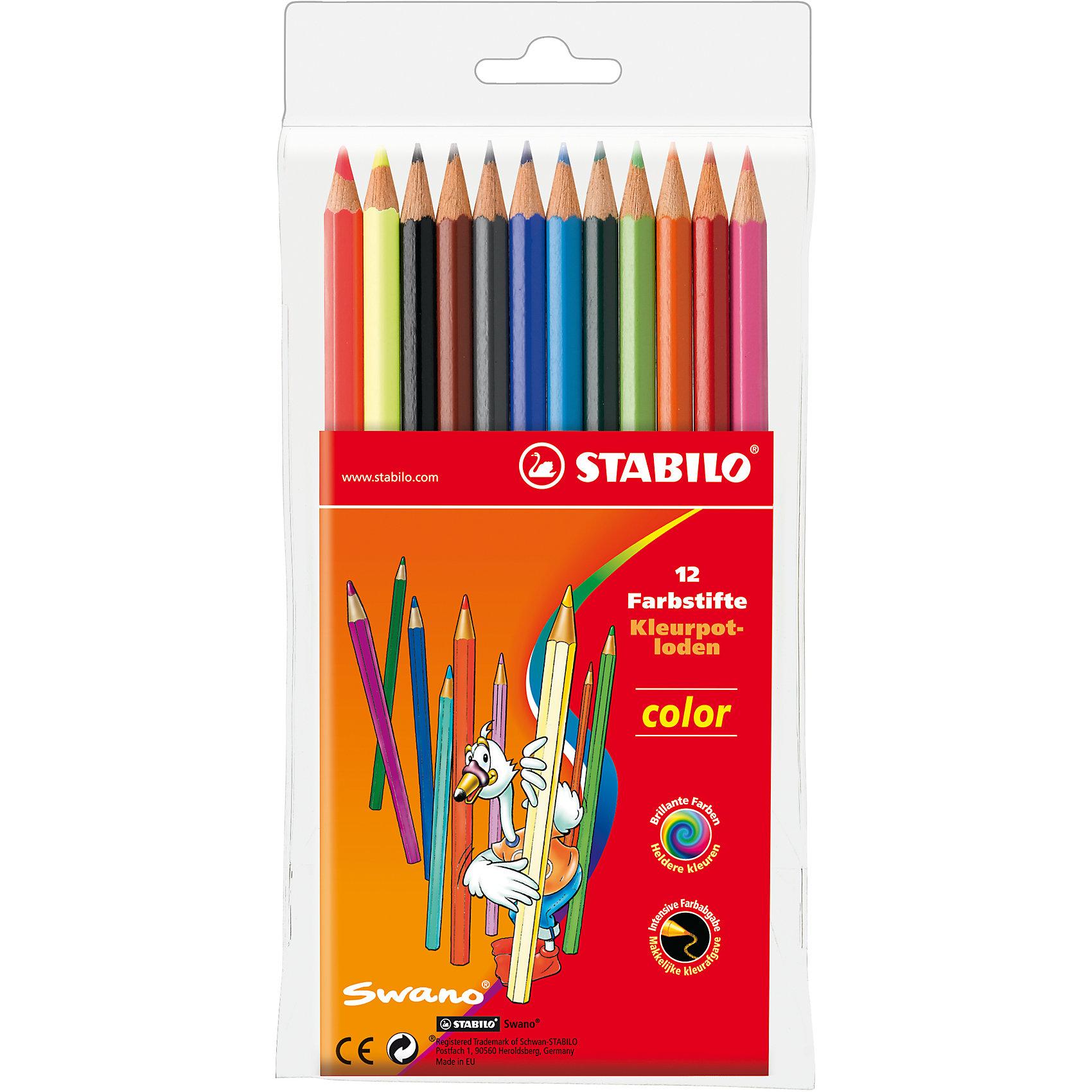 STABILO Color  Набор цветных карандашей 12цвРисование<br>Набор цветных карандашей 10+2 цв. от марки Stabilo<br><br>Эти карандаши созданы немецкой компанией для комфортного и легкого рисования. Легко затачиваются, при этом грифель очень устойчив к поломкам. Цвета яркие, линия мягкая и однородная. Будут долго держаться на бумаге и не выцветать. Рисование помогает детям развивать усидчивость, воображение, образное восприятие мира, а также мелкую моторику рук.  <br>Грифель - из высококачественного материала. В наборе - 12 карандашей разных цветов (10 основных цветов и 2 флуоресцентных). Они отлично лежат в руке благодаря удобной форме и качественному покрытию.<br><br>Особенности данной модели:<br><br>комплектация: 12 шт.<br><br>Набор цветных карандашей 10+2 цв. от марки Stabilo можно купить в нашем магазине.<br><br>Ширина мм: 100<br>Глубина мм: 202<br>Высота мм: 10<br>Вес г: 180<br>Возраст от месяцев: 36<br>Возраст до месяцев: 216<br>Пол: Унисекс<br>Возраст: Детский<br>SKU: 3157356