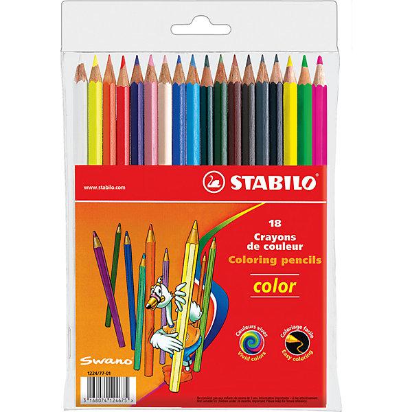 STABILO Color  Набор цветных карандашей 18цвЦветные<br>Набор цветных карандашей 15+3 цв. от марки Stabilo<br><br>Эти карандаши созданы немецкой компанией для комфортного и легкого рисования. Легко затачиваются, при этом грифель очень устойчив к поломкам. Цвета яркие, линия мягкая и однородная. Будут долго держаться на бумаге и не выцветать. Рисование помогает детям развивать усидчивость, воображение, образное восприятие мира, а также мелкую моторику рук.  <br>Грифель - из высококачественного материала. В наборе - 18 карандашей разных цветов (15 основных цветов и 3 флуоресцентных). Они отлично лежат в руке благодаря удобной форме и качественному покрытию.<br><br>Особенности данной модели:<br><br>комплектация: 18 шт.<br><br>Набор цветных карандашей 15+3 цв. от марки Stabilo можно купить в нашем магазине.<br><br>Ширина мм: 139<br>Глубина мм: 202<br>Высота мм: 10<br>Вес г: 220<br>Возраст от месяцев: 36<br>Возраст до месяцев: 216<br>Пол: Унисекс<br>Возраст: Детский<br>SKU: 3157357