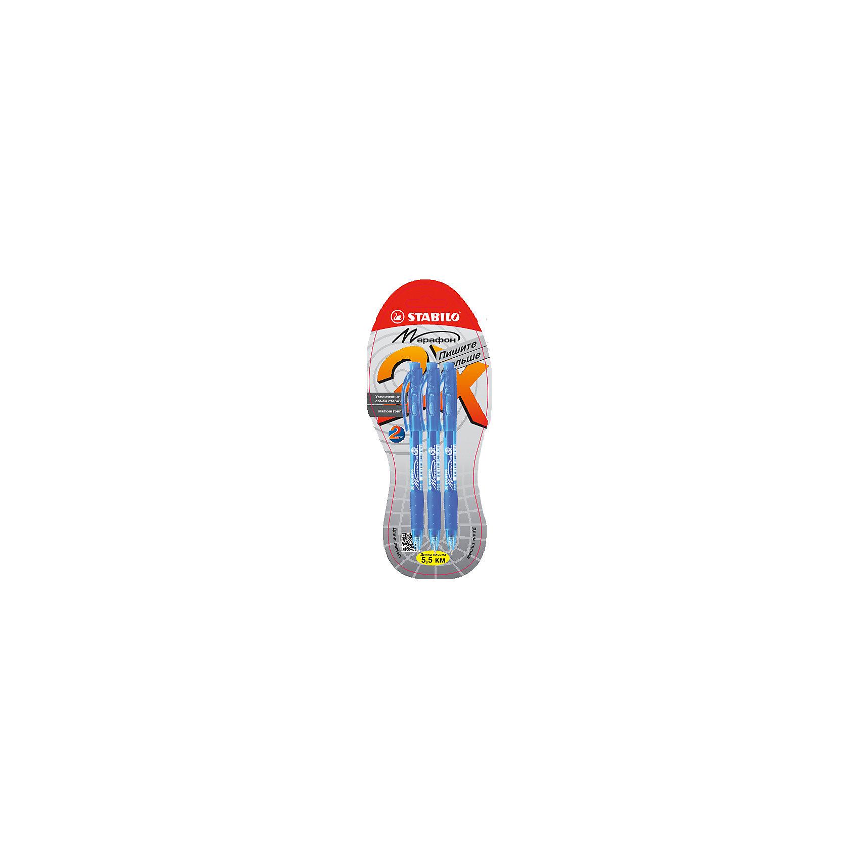 STABILO LeftRight Ручка шариковая marathon, синяя, 3шт.Письменные принадлежности<br>Шариковая ручка MARATHON, 3 шт., синяя от марки Stabilo<br><br>Удобные немецкие ручки от компании Stabilo в прозрачном корпусе. Пишущий инструмент отличного качества! Автоматическая шариковая ручка имеет заменяемый стержень и надежный клип.<br>Отлично ложится в руке, пишет мягко. Дает аккуратную линию. Чернил хватает на долгое время! Чернила быстро сохнут. В наборе - три одинаковые ручки. Данная ручка имеет увеличенный запас чернил.<br><br>Особенности данной модели:<br><br>длина оставляемого следа: 5,5 км;<br>цвет чернил: синий.<br><br>Шариковая ручка MARATHON, 3 шт., синяя от марки Stabilo можно купить в нашем магазине.<br><br>Ширина мм: 295<br>Глубина мм: 245<br>Высота мм: 160<br>Вес г: 30<br>Возраст от месяцев: 72<br>Возраст до месяцев: 216<br>Пол: Унисекс<br>Возраст: Детский<br>SKU: 3157366