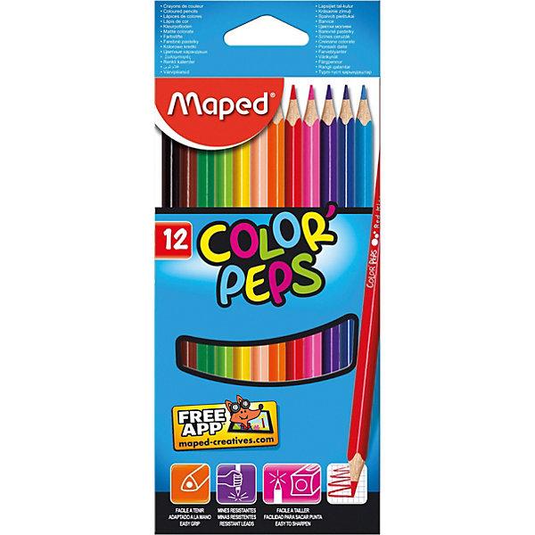 Maped Набор цветных карандашей, 12 цв.Письменные принадлежности<br>Характеристики:<br><br>•возраст: от 3 лет;<br>•в комплекте: 12 цветных карандашей;<br>•материал: дерево;<br>•размер упаковки: 23х10х4 см.;<br>•вес: 154 гр.;<br>•упаковка: картонная коробка.<br><br>Набор карандашей Maped Color'Peps (Мапед Колор Пэпс) состоит из 12 ярких цветов. Удобные в применение благодаря трехгранному профилю корпуса.<br><br>Система защиты от поломки способствует сокращению ломки грифеля и удобной заточке при любом качестве точилки, а специальное лакированное покрытие карандашей защитит от попадания влаги и повреждений.<br><br>Набор цветных карандашей Maped Color'Peps можно купить в нашем интернет-магазине.<br>Ширина мм: 65; Глубина мм: 95; Высота мм: 214; Вес г: 65; Возраст от месяцев: 36; Возраст до месяцев: 216; Пол: Унисекс; Возраст: Детский; SKU: 3157375;