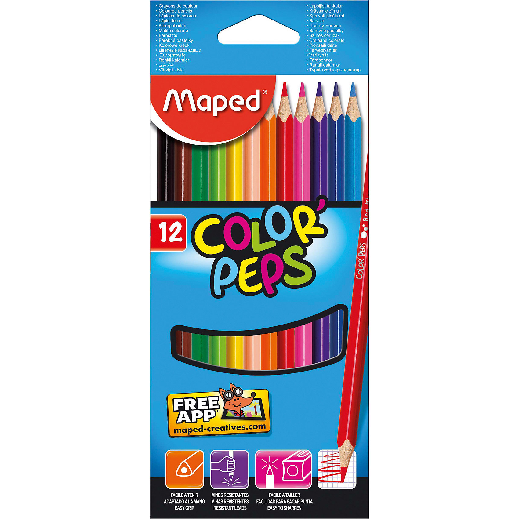 Maped Набор цветных карандашей, 12 цв.Письменные принадлежности<br>MAPED COLORPEPS Карандаши цветные из американской липы,  треугольные, ударопрочный грифель, в картонном футляре, 12 цветов.<br><br>Ширина мм: 65<br>Глубина мм: 95<br>Высота мм: 214<br>Вес г: 65<br>Возраст от месяцев: 36<br>Возраст до месяцев: 216<br>Пол: Унисекс<br>Возраст: Детский<br>SKU: 3157375