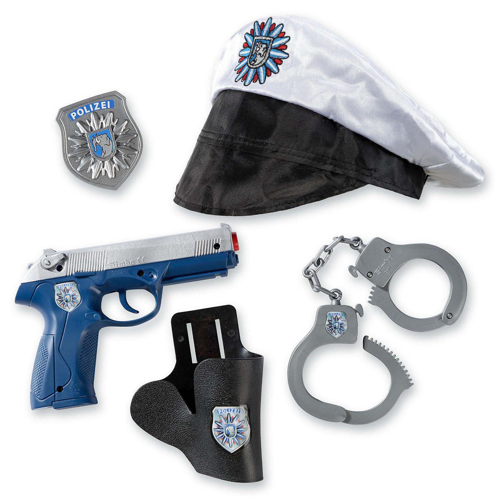 Полицейский набор, SimbaСюжетно-ролевые игры<br>Характеристики:<br><br>• аксессуары: пистолет, фуражка, наручники, жетон полицейского;<br>• световые эффекты – фонарик работает от батареек;<br>• батарейки входят в комплект: 2 шт. типа АА;<br>• материал: пластик, сатин;<br>• размер кейса: 30х30х10 см.<br><br>Поиграть в смелых и отважных полицейских можно с полицейским набором Simba. Пистолет издает щелкающие звуки во время выстрелов. Фуражка изготовлена из сатина, держится на резиночке. Сюжетно-ролевые игры развивают фантазию ребенка, его воображение и речь. <br><br>Полицейский набор, Simba можно купить в нашем магазине.<br><br>Ширина мм: 363<br>Глубина мм: 344<br>Высота мм: 56<br>Вес г: 419<br>Возраст от месяцев: 36<br>Возраст до месяцев: 96<br>Пол: Мужской<br>Возраст: Детский<br>SKU: 3159511