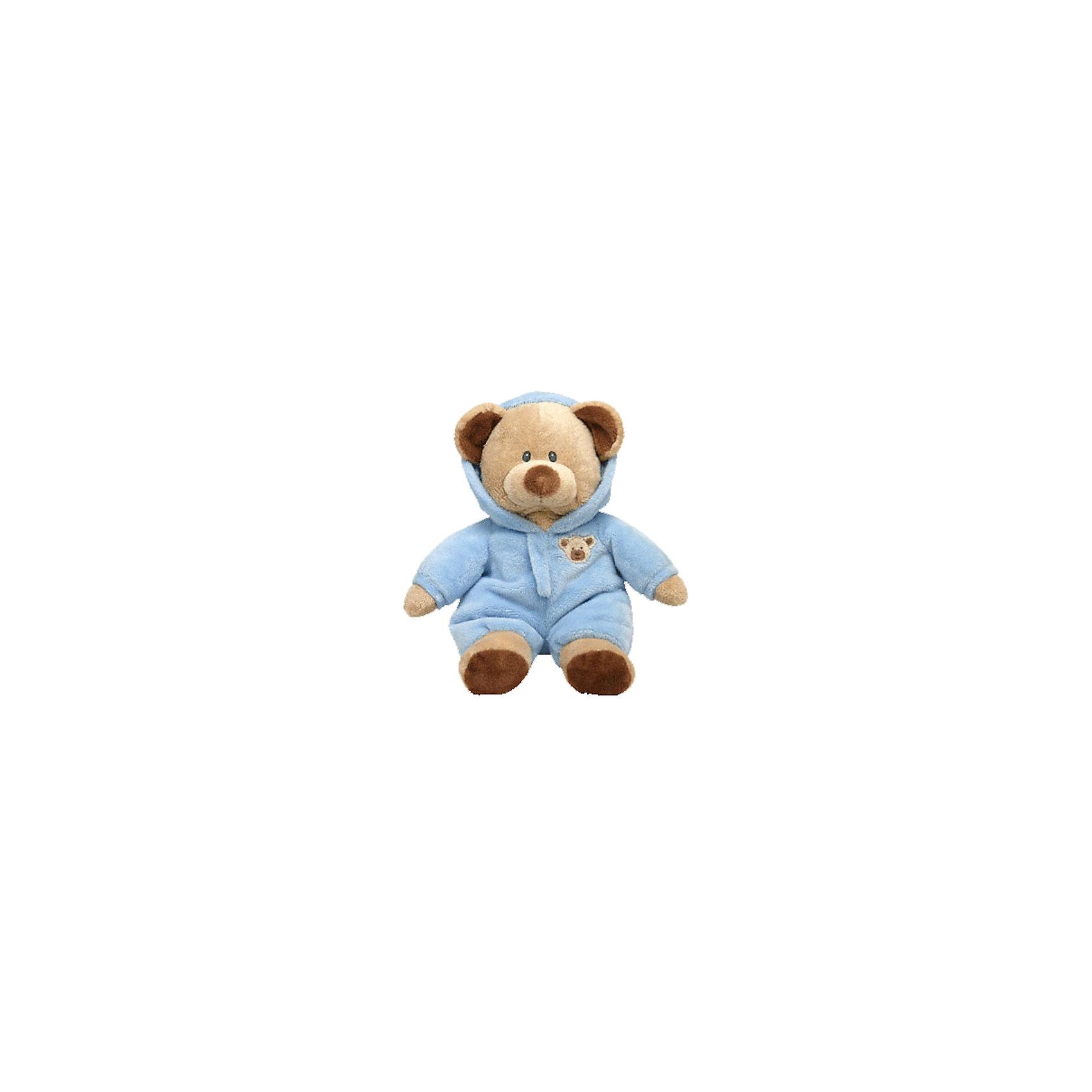 Медведь (коричневый) в голубой одежде, 25 см