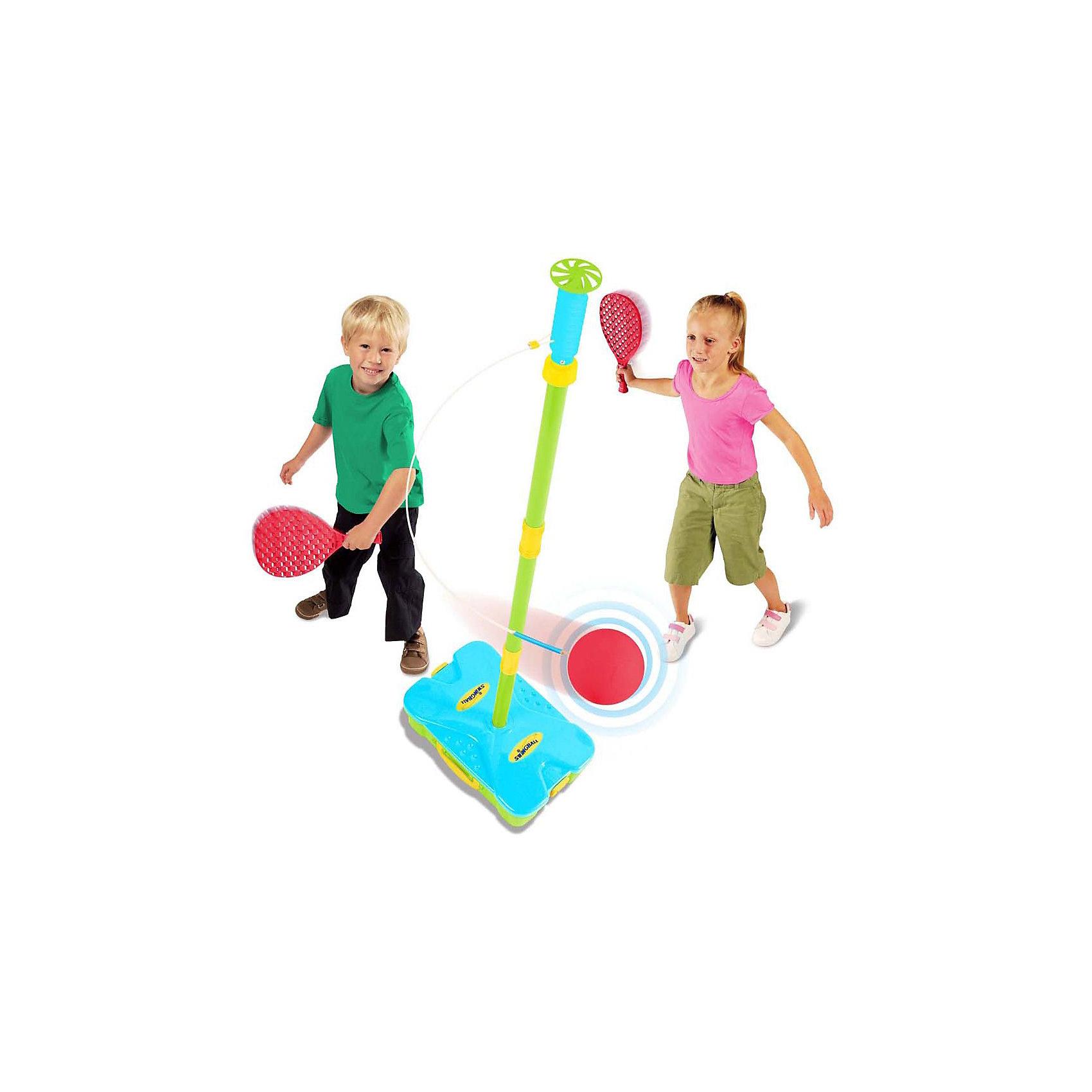 Набор Веселый теннис: база со стойкой, 2 ракетки, мяч, MookieВеселый теннис- Swingball для самых маленьких. В комплекте база для любых поверхностей, 2 ракетки, теннисный мяч сборная штанга. Теннисный мяч привязан к штанге и движется по спирали вверх или вниз, цель игры довести его до своей победной линии. Игра компактна убирается в мобильный кейс. Легко собирать, легко играть! Для повышения устойчивости кейс можно наполнить водой или песком.<br><br>Ширина мм: 400<br>Глубина мм: 260<br>Высота мм: 100<br>Вес г: 2230<br>Возраст от месяцев: 36<br>Возраст до месяцев: 1188<br>Пол: Унисекс<br>Возраст: Детский<br>SKU: 3164133