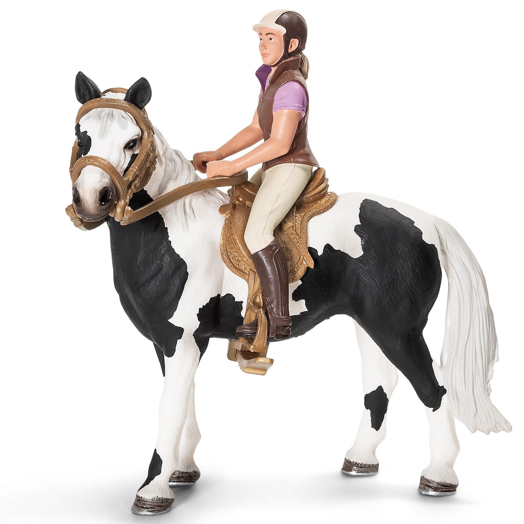 Набор для верховой езды с наездницей (без лошади), SchleichЭльфы и люди<br>Набор для верховой езды с наездницей (без лошади), Schleich (Шляйх). Отважная наездница на прекрасной лошади станет великолепным украшением коллекции игрушек вашего ребенка. Наездница одета в коричневый жилет и сапоги, фиолетовое поло и бежевые брюки.<br><br>Дополнительная информация:<br><br>-размеры (ДхШхВ): 11,6х9х5,5 см<br>-в наборе: наездница с аксессуарами. <br>-ВНИМАНИЕ! Лошадь в комплект не входит. <br>-в наезднице подходит любая лошадь Schleich (Шляйх). <br><br>Чтобы она выиграла, стоит лишь немного её потренировать. Ну что, устроим скачки?<br><br>Набор для верховой езды с наездницей (без лошади), Schleich (Шляйх)  можно купить в нашем магазине<br><br>Ширина мм: 117<br>Глубина мм: 91<br>Высота мм: 58<br>Вес г: 49<br>Возраст от месяцев: 36<br>Возраст до месяцев: 96<br>Пол: Женский<br>Возраст: Детский<br>SKU: 3164154
