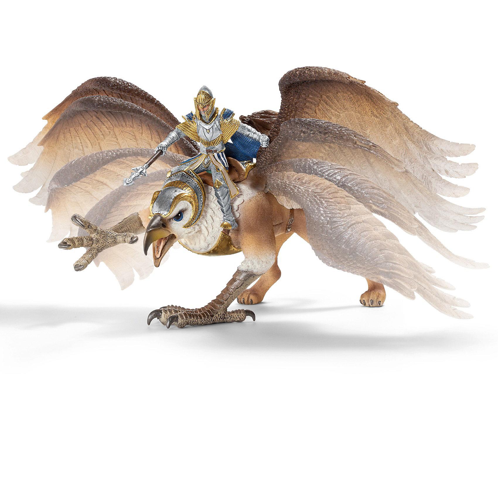 Всадник на грифоне Орден Грифона, SchleichСолдатики и рыцари<br>Всадник на грифоне Орден Грифона от Schleich (Шляйх) на своей сильной птице может летать выше и дальше, чем на любом другом драконе. Вождь Ордена Грифон оседлал эту гордую птицу, надел на нее мощную броню. Грифон обладает прекрасным зрением, он замечает любое движение с очень большого расстояния, это делает вождя Ордена Грифонов практически непобедимым. <br><br>Дополнительная информация:<br><br>-фигурка Рыцарь на грифоне, раскрашенная вручную, сделана из безопасного материала – каучукового пластика<br>-размеры (ДхШхВ): 29х17,5х17,5 см<br>-крылья грифона подвижные<br>-всадник надежно крепится к грифону с помощью магнитов, встроенных в фигурку. <br><br>Игрушку Всадник на грифоне Орден Грифона, Schleich (Шляйх) можно купить в нашем интернет - магазине.<br><br>Ширина мм: 295<br>Глубина мм: 175<br>Высота мм: 172<br>Вес г: 805<br>Возраст от месяцев: 36<br>Возраст до месяцев: 96<br>Пол: Мужской<br>Возраст: Детский<br>SKU: 3164163