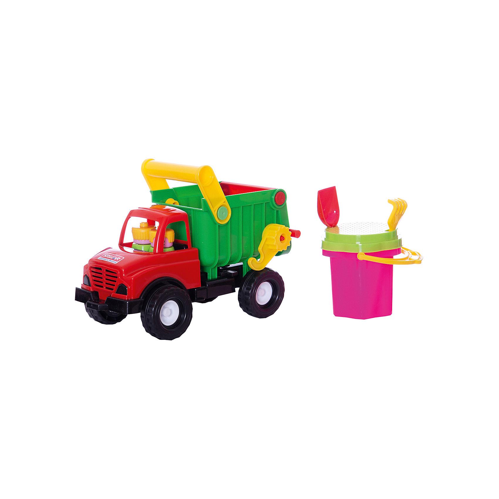 Грузовик-самосвал, СтелларИграем в песочнице<br>Набор для игры в песочнице Грузовик-самосвал обязательно понравится Вашему малышу!<br><br>Яркий, разноцветный грузовик имеет кузов, в который легко помещается всё необходимое для игры в песке: ведро-цветок 0,3 л, сито, грабли и совок.<br><br>Ваш ребёнок сможет взять этот красивый грузовик-самосвал с собой на дачу, на пляж или играть с ним во дворе с друзьями. Порадуйте юного строителя новой яркой игрушкой!<br><br>Дополнительная информация:<br><br>- В наборе: яркий самосвал, ведро-цветок 0,3 л, сито, грабли, совок<br>- Размер: 20 х 26 х 14 см<br>- Материал: полипропилен<br>- Вид упаковки: сетка<br><br>ВНИМАНИЕ! Данный артикул имеется в наличии в разных цветовых исполнениях. К сожалению, заранее выбрать определенный цвет невозможно. При заказе нескольких позиций возможно получение одинаковых.<br><br>Ширина мм: 200<br>Глубина мм: 260<br>Высота мм: 140<br>Вес г: 510<br>Возраст от месяцев: 36<br>Возраст до месяцев: 72<br>Пол: Унисекс<br>Возраст: Детский<br>SKU: 3167086