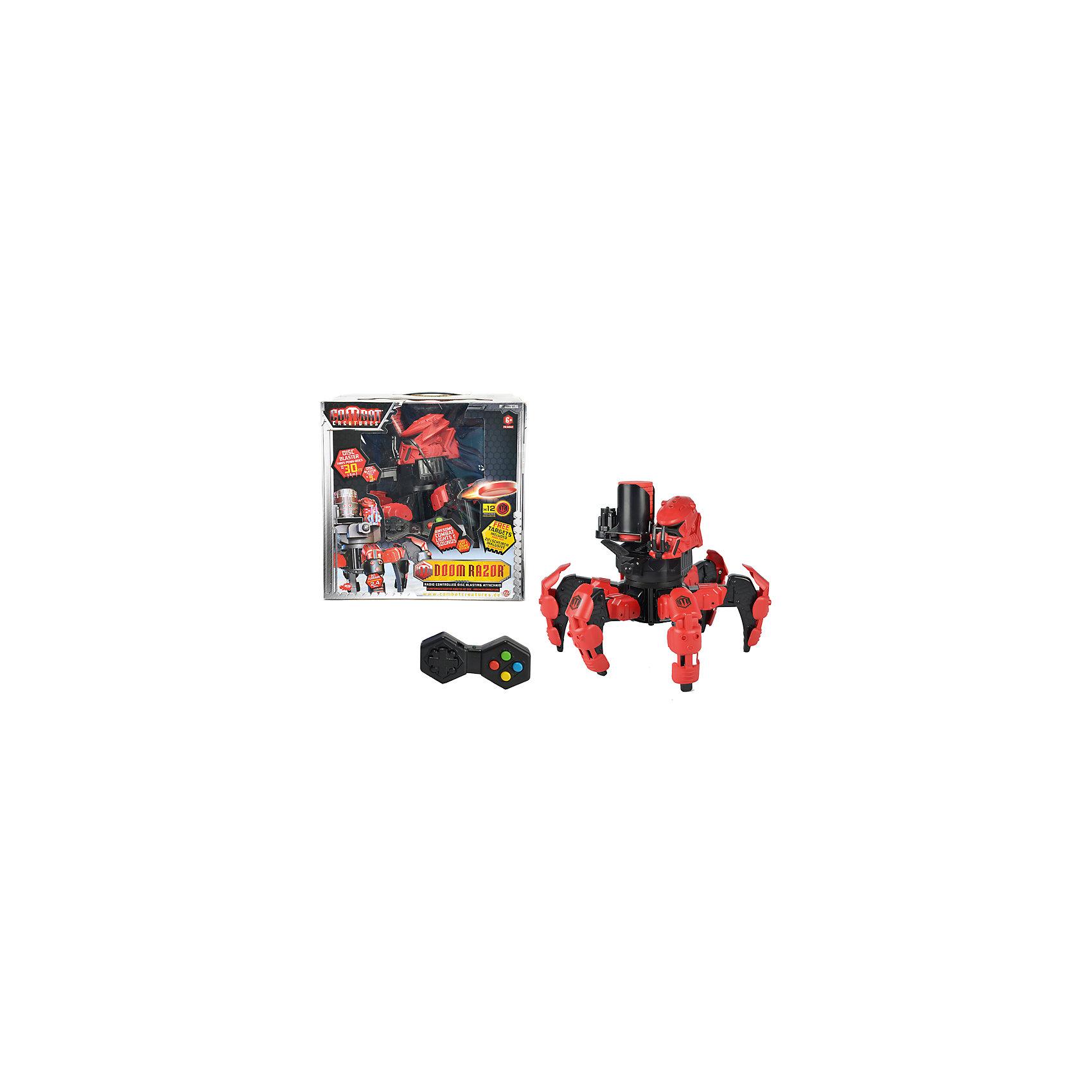 Боевой робот на р/у, DickieРоботы<br>Боевой робот - паук приведет в восторг любого мальчишку! Робот перемещается на 6-ти лапах, движение которых запрограммировано по примеру ходьбы настоящего паука. Паук атакует противника из дискового бластера с подъемным механизмом и запасом из 12-ти зарядов, которые летят точно в цель на расстоянии до 9 метров. Заряды изготовлены из вспененного полимера — они абсолютно не травматичны и безопасны для играющих детей. Для ночных боев предусмотрена зловещая красная подсветка. Робот оборудован счетчиком жизни и башней с «электронным мозгом». Жизней у него всего 3 - для того. чтобы победить паука, необходимо 3 раза попасть по мишени на башне.<br>Бластер и башня поворачиваются на 360 градусов, контролируя обстановку вокруг. Взаимодействие с роботом возможно в игровом - тренировочном, и боевом режиме. Игрушка выполнена из прочных экологичных материалов, в производстве которых использованы нетоксичные, безопасные красители. <br><br>Дополнительная информация:<br><br>- Материал: пластик, металл.<br>- Размер: 25 см.<br>- Дисковый бластер с 12-ю зарядами.<br>- Дальность стрельбы: до 9 метров.<br>- Световые, звуковые эффекты. <br>- Комплектация: робот, пульт ДУ, инструкция. <br>- Дальность действия: пульта р/у: до 92 м.<br>- Бластер и башня поворачиваются на 360 градусов.<br>- Элемент питания: 6 АА батареек (в комплекте).<br><br>Боевого робота на р/у, Dickie (Дикки), можно купить в нашем магазине.<br><br>Ширина мм: 377<br>Глубина мм: 347<br>Высота мм: 363<br>Вес г: 2422<br>Возраст от месяцев: 36<br>Возраст до месяцев: 72<br>Пол: Мужской<br>Возраст: Детский<br>SKU: 3167807