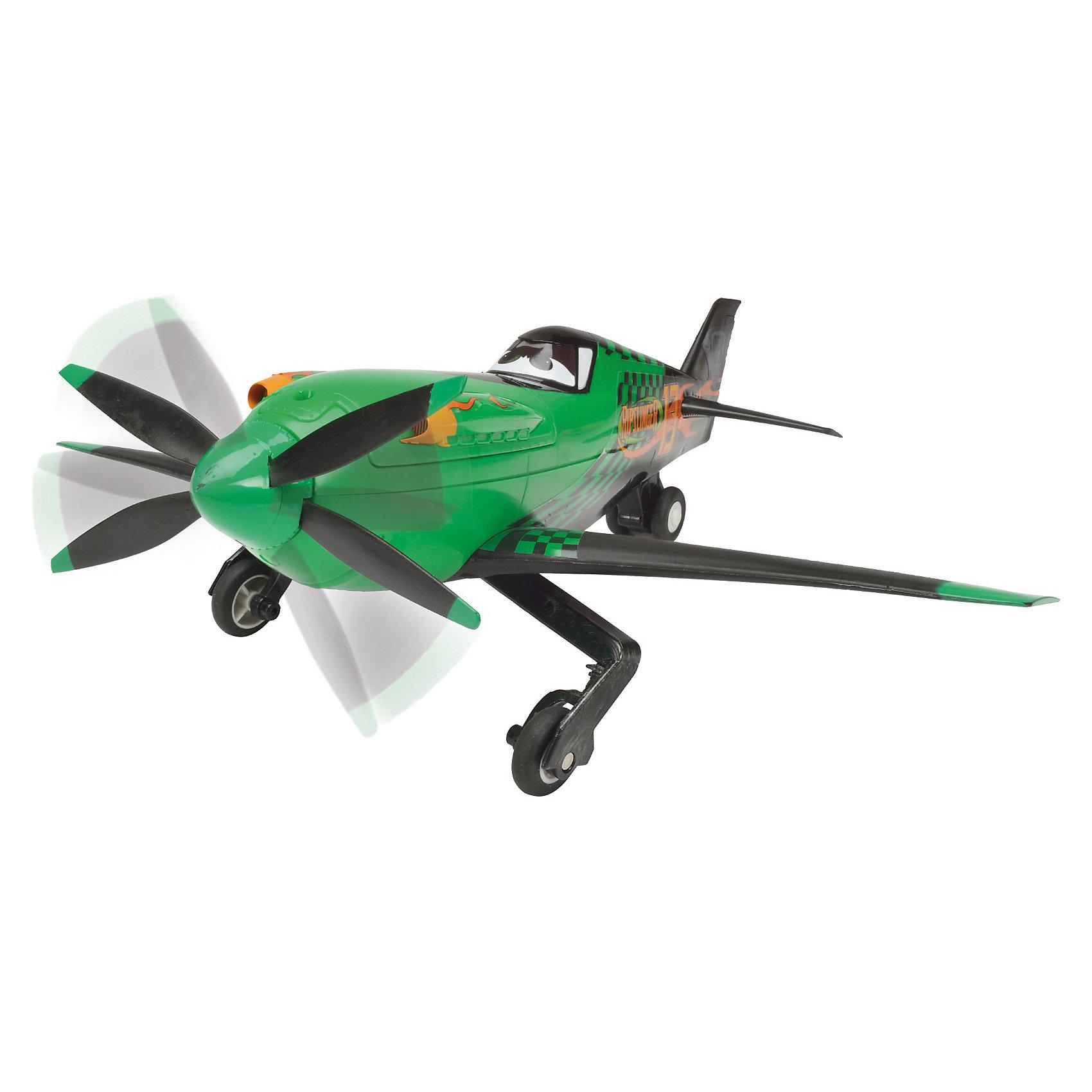 Самолет Рипслингер, , 1:24, 31 см. ,DickieИгрушки<br>Самолет Рипслингер Dickie из мультфильма Planes (Самолеты) Disney станет отличным подарком для Вашего ребенка. Рипслингер – победитель большого количества воздушных гонок, в мультике он противостоит главному герою – Дасти. Внешний вид самолетика в точности повторяет своего мультперсонажа.<br><br>Самолет на радиоуправлении ездит только по поверхности и управляется с помощью пульта. Пульт управления оснащен двумя рычагами: левый - вперед, назад, правый - влево, вправо. Оснащен функцией дрифта и ускорения, звуковыми эффектами и имитацией работы двигателя. Пропеллер самолета вращается. <br><br>Дополнительная информация:<br><br>- Масштаб: 1:24.<br>- Материал: пластмасса.<br>- Требуются батарейки: в пульт – 3 шт. LR06 типа АА, в самолет – 3 шт. LR6 типа АА (в комплект не входят). <br>- Размер игрушки: 31 см.<br>- Размер упаковки: 35 х 30 х 17,5 см.<br>- Вес: 1 кг.<br><br>Самолет Рипслингер Dickie можно купить в нашем интернет-магазине.<br><br>Ширина мм: 261<br>Глубина мм: 306<br>Высота мм: 375<br>Вес г: 898<br>Возраст от месяцев: 36<br>Возраст до месяцев: 84<br>Пол: Унисекс<br>Возраст: Детский<br>SKU: 3167817