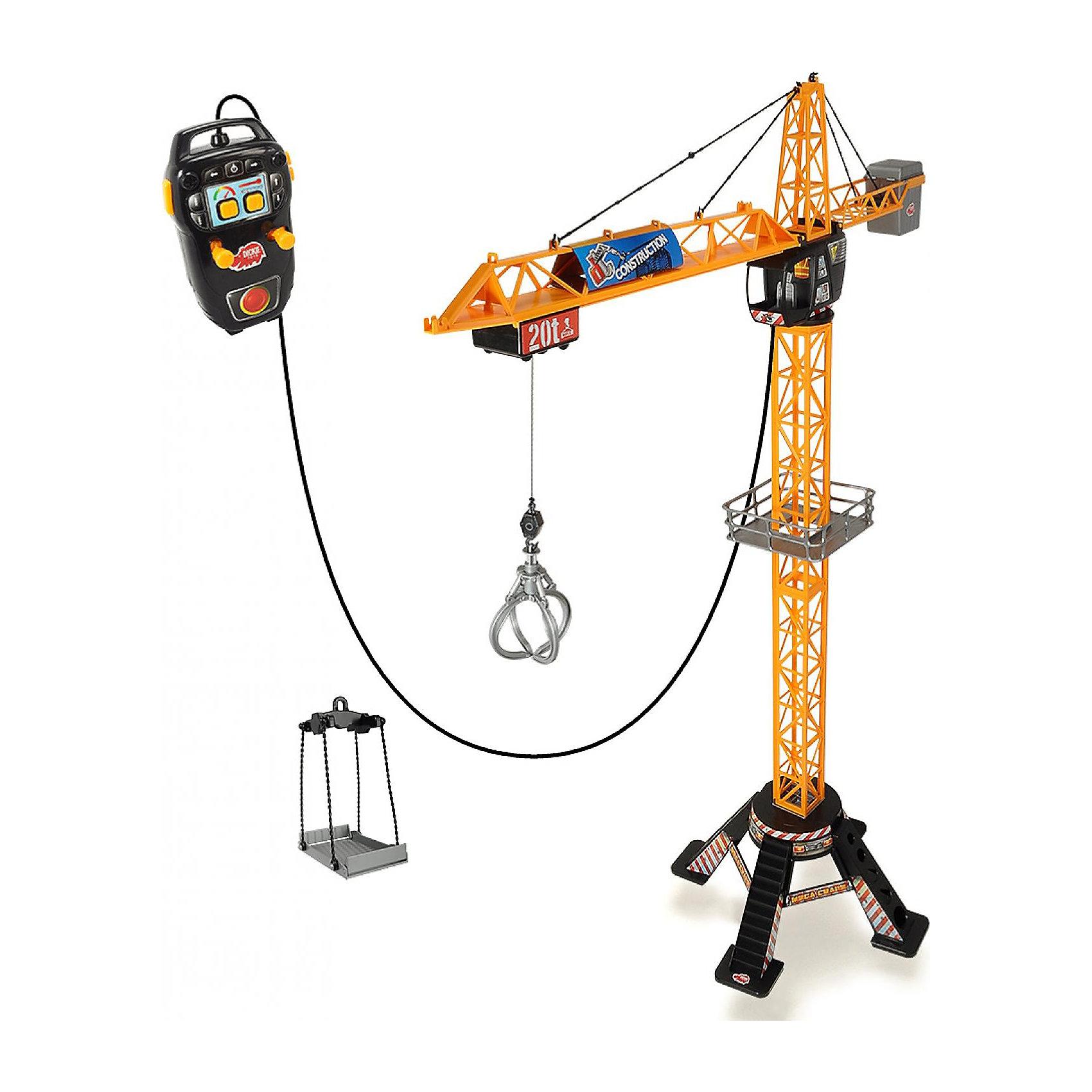 Кран на д/у, 120 см, Dickie ToysМашинки<br>Кран 120 см на пульте управления. Световые и звуковые эффекты. С помощью пульта управления можно поворачивать кран на 350 градусов, поднимать и опускать грузы, а также перемещать грузы вдоль стрелки. Кроме крюка в наборе идет клешня и платформа, для подня<br><br>Ширина мм: 700<br>Глубина мм: 500<br>Высота мм: 95<br>Вес г: 2045<br>Возраст от месяцев: 36<br>Возраст до месяцев: 84<br>Пол: Мужской<br>Возраст: Детский<br>SKU: 3168435
