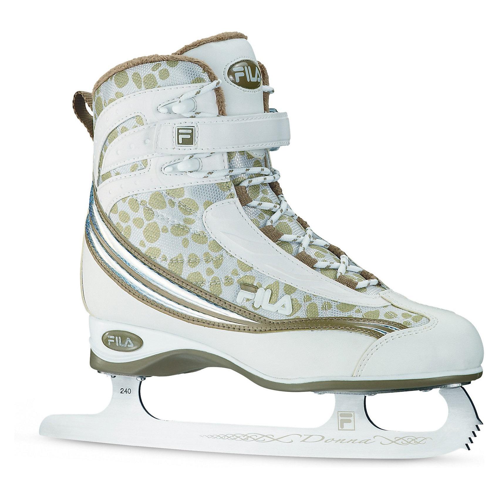 Ледовые коньки Donna, белый, FILAКоньки<br>Ледовые коньки Donna, белый, FILA - теплые, удобные и элегантные прогулочные ледовые коньки.<br><br>Ледовые коньки от итальянского бренда Fila отличаются достойным качеством и высоким комфортом. <br>Верх ботинка изготовлен из синтетической ткани со вставками из нейлона. Жесткая конструкция поддерживает голеностоп и минимизирует риск получения травмы. Система крепления состоит из шнурков и удобной липучки. Подкладка из синтетических материалов способствует комфортной посадки ботинка. Пластиковая подошва обеспечивает надежную конструкцию. Лезвия из нержавеющей стали с защитным напылением подходят для многократной заточки.<br><br> Данная модель предназначена для всех любителей катания на льду независимо от уровня индивидуального мастерства. <br><br>Дополнительная информация:<br><br>- Материал ботинка: ПВХ.<br>- Внутренний материал ботинка: синтетическая ткань.<br>- Тип фиксации: липучки, шнурки.<br>- Материал подошвы: пластик.<br>- Материал лезвия: нержавеющая сталь.<br><br>Ледовые коньки Donna, белый, FILA можно купить в нашем интернет-магазине.<br><br>Ширина мм: 460<br>Глубина мм: 350<br>Высота мм: 130<br>Вес г: 2500<br>Цвет: белый<br>Возраст от месяцев: 120<br>Возраст до месяцев: 1200<br>Пол: Женский<br>Возраст: Детский<br>Размер: 38.5,37.5,39,38,37<br>SKU: 3169529