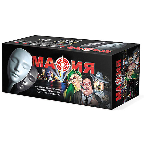 Игра Мафия (подарочный набор)Настольные игры для всей семьи<br>Знаменитая игра психологического характера, которая поможет интересно провести время с Вашими друзьями. Смысл игры заключается в том, что игроки делятся на Мафию и Мирных жителей, между которыми идет противостояние.<br><br>Дополнительная информация:<br><br>В комплекте:<br>Маски пластиковые - 10 штук<br>Игральные карты - 20 штук<br>Врач - 1<br>Любовница - 1<br>Ведущий - 1<br>Маньяк - 1<br>Мирный житель - 12<br>Мафия - 3<br>Комиссар -1<br><br>Игра Мафия (подарочный набор) можно купить в нашем магазине.<br><br>Ширина мм: 390<br>Глубина мм: 175<br>Высота мм: 130<br>Вес г: 1100<br>Возраст от месяцев: 144<br>Возраст до месяцев: 1188<br>Пол: Унисекс<br>Возраст: Детский<br>SKU: 3173883