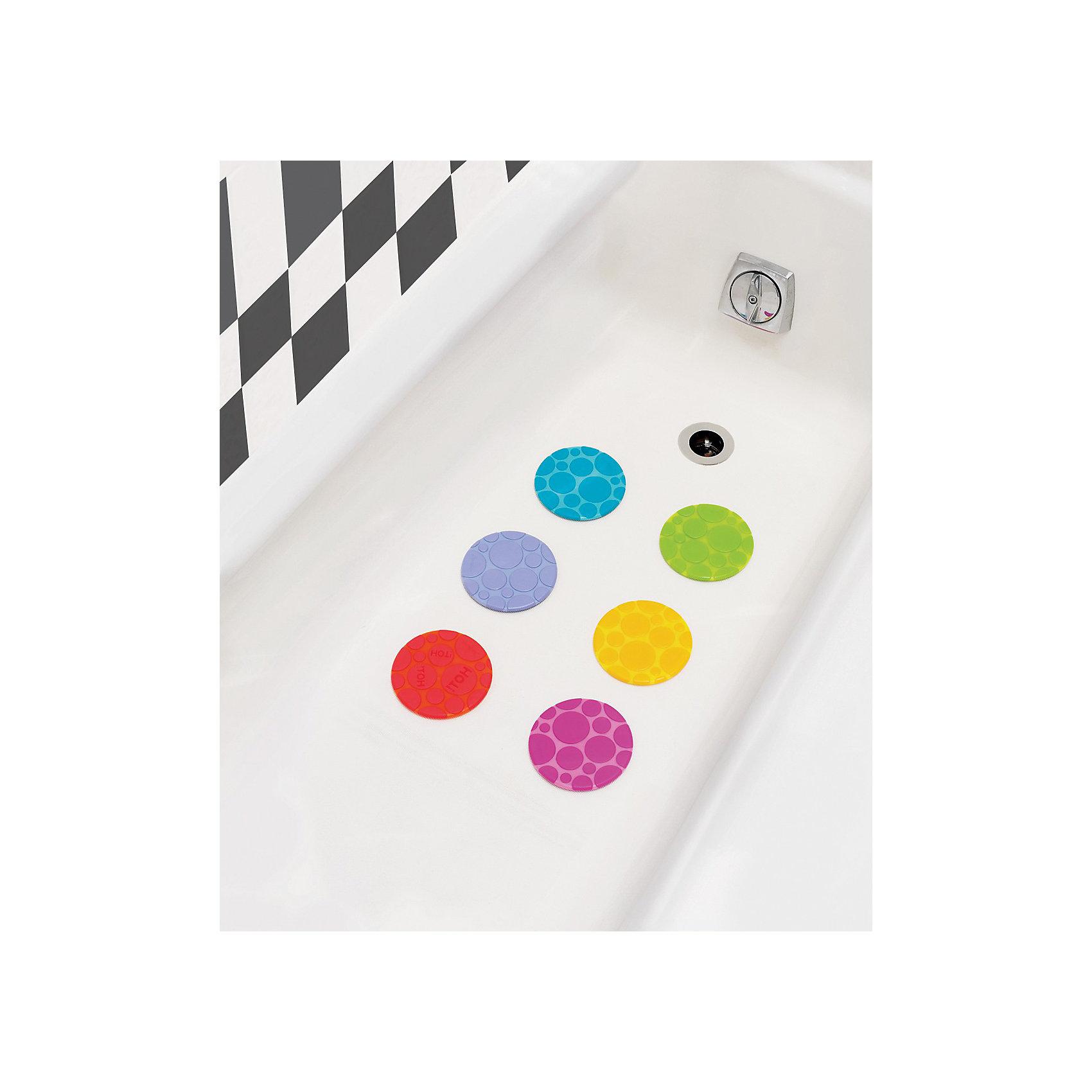 Набор ковриков для ванной 6 шт., MunchkinПрочие аксессуары<br>Набор ковриков для ванной Munchkin (6 шт в комплекте)<br><br>6 цепкихтекстурированныхковриков-накладок помогаютпредотвратить скольжение в ванне. Одна накладка обладает функцией White Hot Technology ®, которая предупреждает, когда вода становится слишком горячей<br><br>Дополнительная информация:<br><br>·крепко присасываются к поверхности ванной<br>·оригинальная альтернатива коврику для ванной - накладки легко чистятся, их можно размещать в любых точках ванной, там, где они нужны больше всего<br>·диаметр каждого коврика 11 см<br><br>Кредо Munchkin, американской компании с 20-летней историей: избавить мир от надоевших и прозаических товаров, искать умные инновационные решения, которые превращает обыденные задачи в опыт, приносящий удовольствие. Понимая, что наибольшее значение в быту имеют именно мелочи, компания создает уникальные товары, которые помогают поддерживать порядок, организовывать пространство, облегчают уход за детьми – недаром компания имеет уже более 140 патентов и изобретений, используемых в создании ее неповторимой и оригинальной продукции. Munchkin делает жизнь родителей легче!<br><br>Ширина мм: 178<br>Глубина мм: 254<br>Высота мм: 51<br>Вес г: 289<br>Возраст от месяцев: 0<br>Возраст до месяцев: 12<br>Пол: Унисекс<br>Возраст: Детский<br>SKU: 3174950