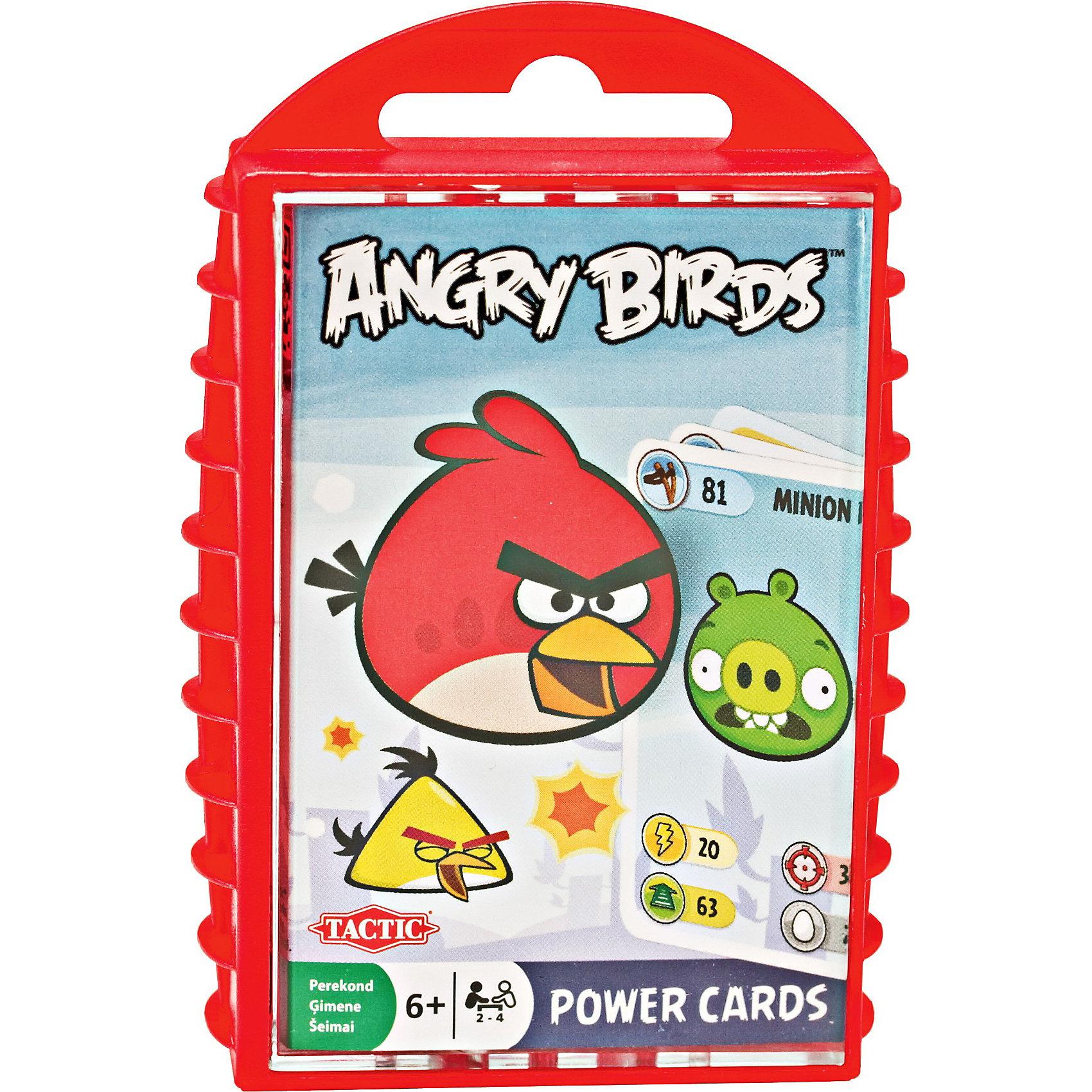 Игра с карточками Angry Birds, Tactic GamesИгры для развлечений<br>Эта новинка от компании Tactic Games придется по вкусу всем любителям компьютерной аркады Angry Birds (Злые Птички)про маленьких, но очень суровых птичек. Здесь вам предстоит построить каменную, ледяную или деревянную башню из карточек первым. Сравнивайте показатели Силы и Цели на карточках и определяйте, кто побьет всех, а кто сможет построить свою башню и разрушить вражескую. <br><br>Дополнительная информация:<br><br>-  В комплект входят: правила игры, 33 двухсторонних карточки, удобный контейнер для хранения и переноски<br><br>Tactic Games Игру с карточками Angry Birds можно купить в нашем магазине.<br><br>Ширина мм: 120<br>Глубина мм: 85<br>Высота мм: 25<br>Вес г: 220<br>Возраст от месяцев: 72<br>Возраст до месяцев: 192<br>Пол: Унисекс<br>Возраст: Детский<br>SKU: 3174986