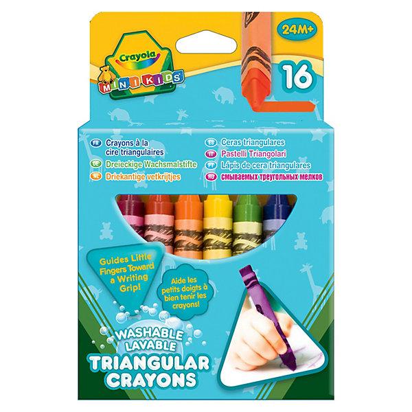 16 смываемых треугольных восковых мелков, CrayolaМасляные и восковые мелки<br>16 смываемых треугольных восковых мелков от Crayola (Крайола) рекрасно подходят для творческих занятий Вашего ребёнка! Мелки изготовлены из натурального пчелиного воска с добавлением растительных красителей, поэтому они совершенно безвредны. <br><br>Цвета мелков яркие, сочные, а текстура мягкая, что позволит рисовать легко и весело. Кроме того, мелки не ломаются, не пачкают руки и одежду! Порадуйте своего ребёнка таким необходимым набором восковых мелков от Кайола!<br><br>16 смываемых треугольных восковых мелков от Crayola (Крайола) можно купить в нашем интернет-магазине.<br>Ширина мм: 146; Глубина мм: 99; Высота мм: 30; Вес г: 149; Возраст от месяцев: 24; Возраст до месяцев: 60; Пол: Унисекс; Возраст: Детский; SKU: 3175009;