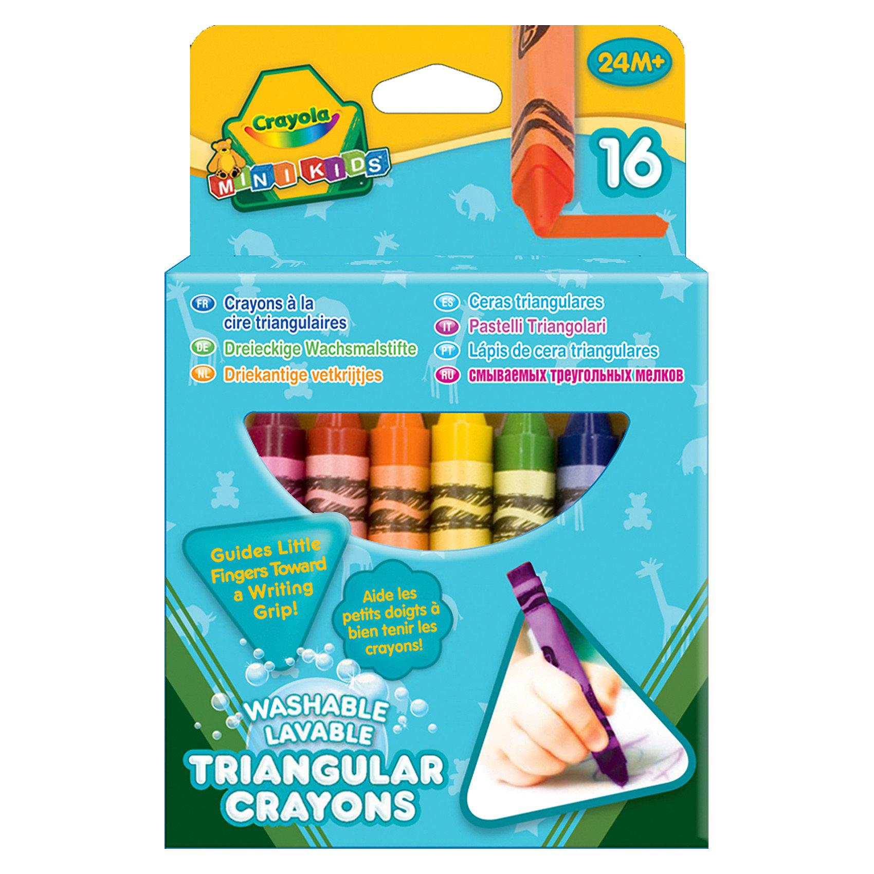 16 смываемых треугольных восковых мелков, CrayolaТворчество для малышей<br>16 смываемых треугольных восковых мелков от Crayola (Крайола) рекрасно подходят для творческих занятий Вашего ребёнка! Мелки изготовлены из натурального пчелиного воска с добавлением растительных красителей, поэтому они совершенно безвредны. <br><br>Цвета мелков яркие, сочные, а текстура мягкая, что позволит рисовать легко и весело. Кроме того, мелки не ломаются, не пачкают руки и одежду! Порадуйте своего ребёнка таким необходимым набором восковых мелков от Кайола!<br><br>16 смываемых треугольных восковых мелков от Crayola (Крайола) можно купить в нашем интернет-магазине.<br><br>Ширина мм: 146<br>Глубина мм: 99<br>Высота мм: 30<br>Вес г: 149<br>Возраст от месяцев: 24<br>Возраст до месяцев: 60<br>Пол: Унисекс<br>Возраст: Детский<br>SKU: 3175009