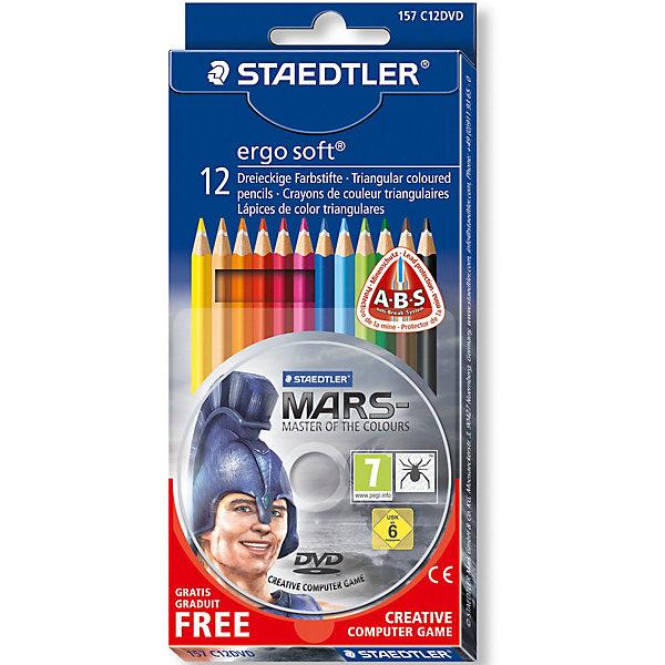 Цветные карандаши Ergosoft, 12 цв.Цветные<br>Набор цветных карандашей  Ergo Soft эргонамичной  трехгранной  формы  для легкого письма. Содержит 12 цветов + диск CREATIVE COMPUTER GAME  - бесплатно. Картонная упаковка.  Уникальное, нескользящее мягкое покрытие. A-B-C - белое защитное покрытие для укрепления грифеля и для защиты от поломки. Очень мягкий и яркий грифель. Лак на водной основе. При производстве используется древесина и специально подготовленных лесов.<br><br>Ширина мм: 195<br>Глубина мм: 88<br>Высота мм: 13<br>Вес г: 83<br>Возраст от месяцев: 96<br>Возраст до месяцев: 192<br>Пол: Унисекс<br>Возраст: Детский<br>SKU: 3175897