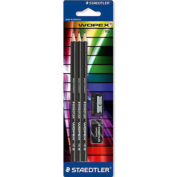 Купить STAEDTLER Набор чернографитовых карандашей Noris eco, HB, 3 шт. + точилка + ластик, Тайвань, Унисекс