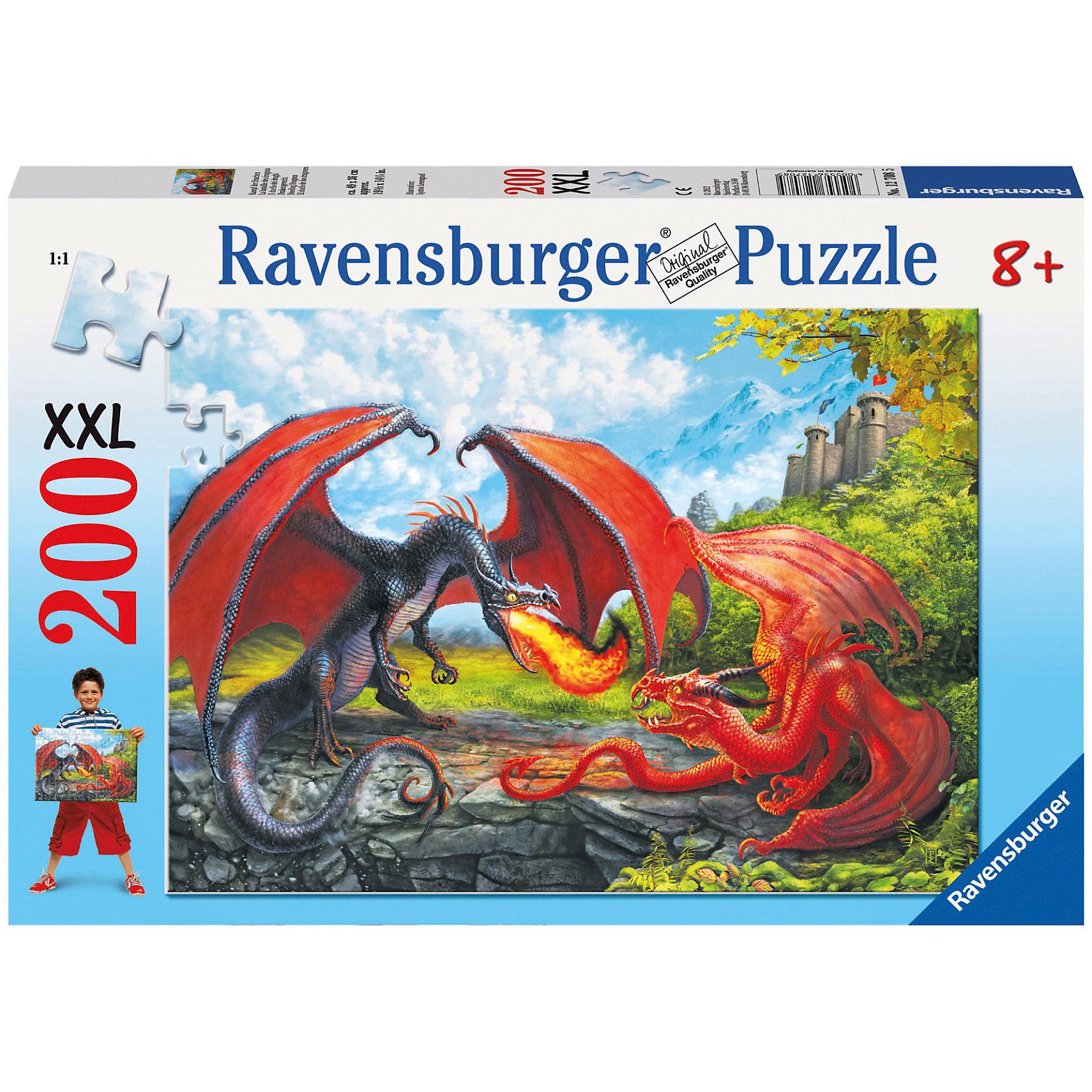 Пазл «Битва драконов» XXL 200 деталей, RavensburgerКлассические пазлы<br>Пазл «Битва драконов» XXL 200 деталей, Ravensburger (Равенсбургер) – увлекательное времяпрепровождение для Вашего ребенка!<br>Пазл «Битва драконов» от немецкой фирмы Ravensburger (Равенсбургер) - это уникальный занимательный и развивающий пазл. Собирая картинку, ребенок развивает логическое мышление, воображение, мелкую моторику и умение принимать самостоятельные решения. Пазлы Ravensburger неповторимы и уникальны тем, что для их изготовления используется картон наивысшего класса, благодаря которому сложенные головоломки не сгибаются, сам картон не отделяется от картинки, а сложенная картинка представляется абсолютно плоской и не деформируется даже спустя время. Прочные детали не ломаются. Каждая деталь имеет свою форму и подходит только на своё место. Матовая поверхность исключает неприятные отблески. Изготовлено из экологического сырья.<br><br>Дополнительная информация:<br><br>- Количество деталей: 200<br>- Размер картинки: 36х49 см.<br>- Материал: прочный картон<br>- Размер коробки: 34 x 4 x 23 см.<br><br>Пазл «Битва драконов» XXL 200 деталей, Ravensburger (Равенсбургер) можно купить в нашем интернет-магазине.<br><br>Ширина мм: 338<br>Глубина мм: 233<br>Высота мм: 38<br>Вес г: 507<br>Возраст от месяцев: 96<br>Возраст до месяцев: 120<br>Пол: Мужской<br>Возраст: Детский<br>Количество деталей: 200<br>SKU: 3176770
