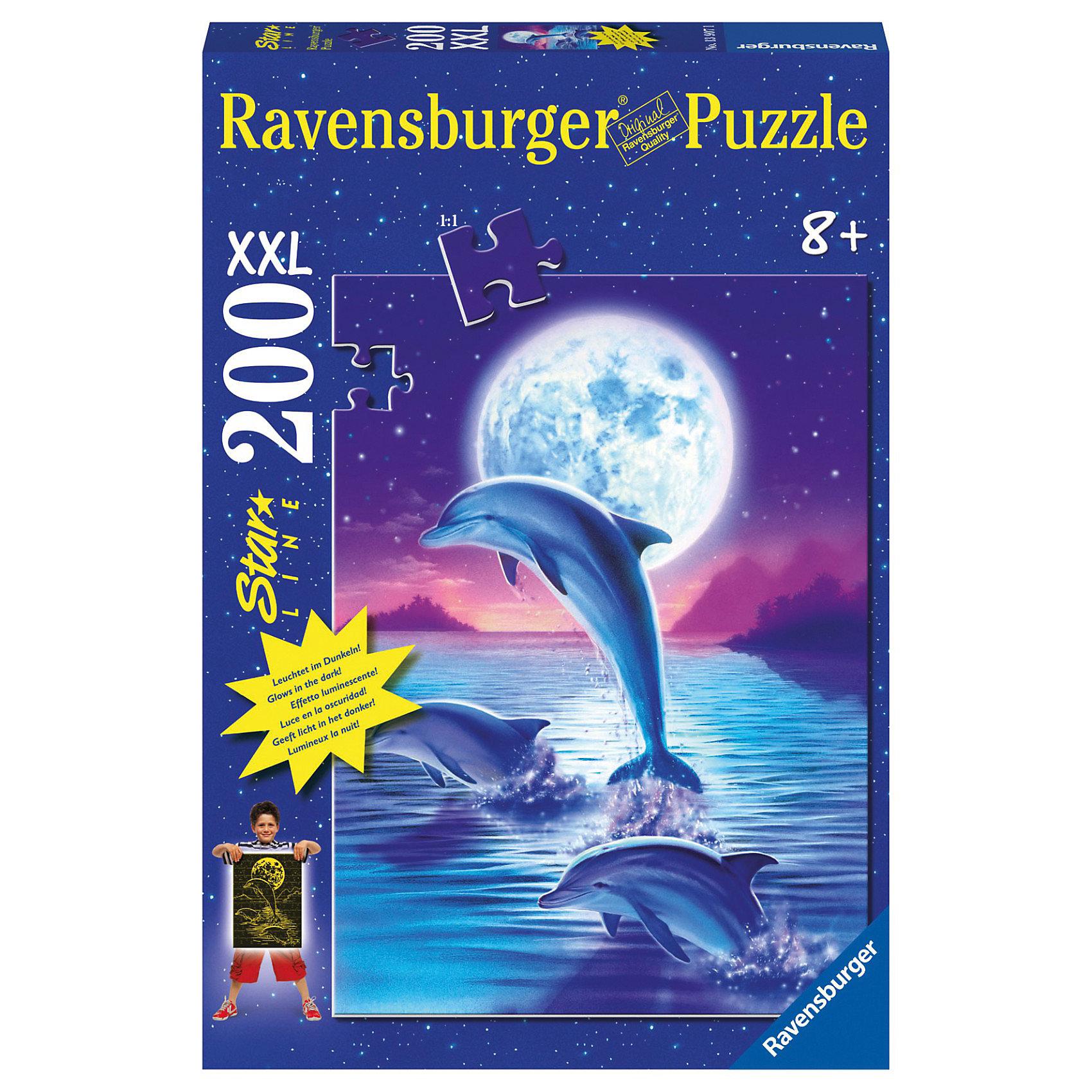 Ravensburger Пазл светящийся «Дельфины» XXL 200 деталей, Ravensburger пазл 200 элементов ravensburger мой первый питомец 12810