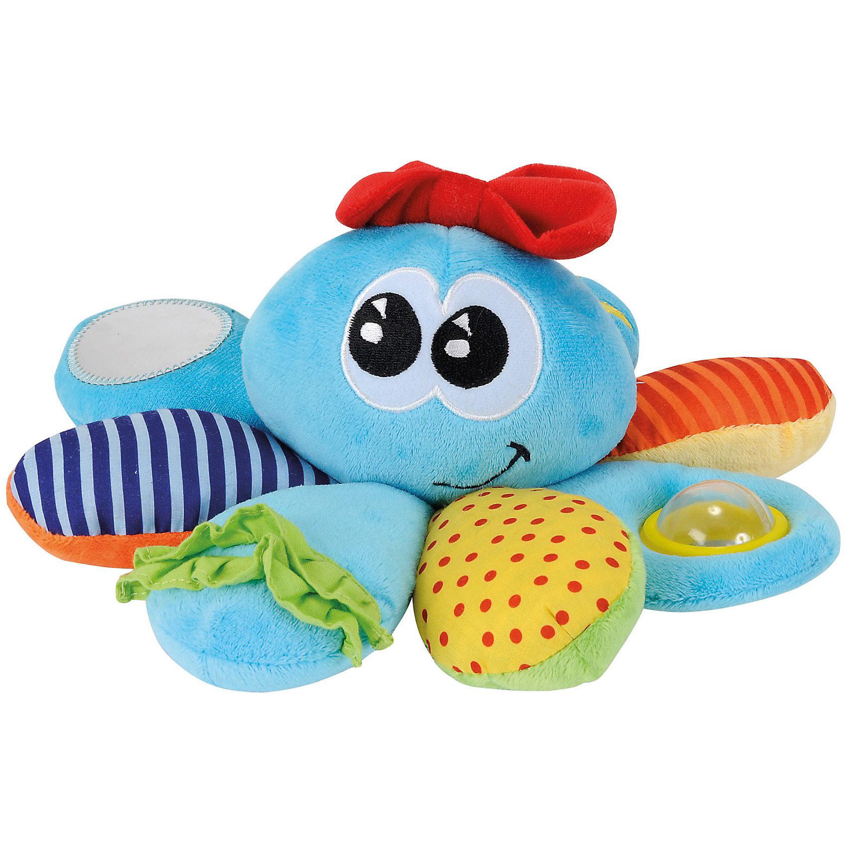 Осьминожка с различными деталями, 20 см, SimbaРазвивающие игрушки<br>Осьминожка с различными деталями, 20 см, Simba (Симба). <br><br>Характеристика:<br><br>• Материал: текстиль, пластик.     <br>• Размер: 20 см.<br>• Яркий привлекательный дизайн. <br>• Изготовлена из материалов различных фактур. <br>• Безопасное зеркальце, фольга, погремушка. <br><br>Развивающая игрушка для малыша используется с первых дней его рождения. Мягкая и приятная на ощупь, игрушка Simba в виде осьминожки изготовлена из разнотекстурных материалов. Наличие зеркальца, погремушки, шуршащих и шелестящих элементов развивают слух крохи, привлекают его внимание новыми звуками. Комбинирование кусочков разной ткани позволяет развить мелкую моторику детских ручек.<br><br>Осьминожку с различными деталями, 20 см, Simba (Симба), можно купить в нашем интернет-магазине.<br><br>Ширина мм: 250<br>Глубина мм: 230<br>Высота мм: 124<br>Вес г: 168<br>Возраст от месяцев: 0<br>Возраст до месяцев: 36<br>Пол: Унисекс<br>Возраст: Детский<br>SKU: 3176940