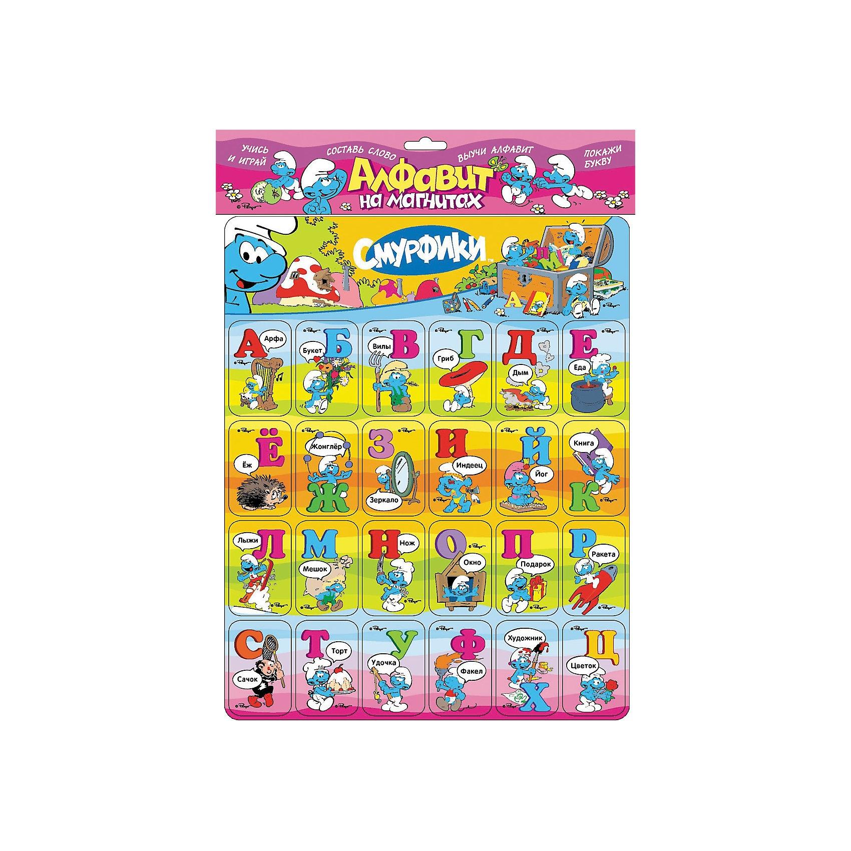 Алфавит на магнитах, СмурфикиНабор учебно-игровых карточек Смурфики: Алфавит на магнитах от Росмэн - это лёгкое и весёлое изучение азбуки с героями популярного мультфильма!<br><br>Забавные гномики-смурфики помогут Вашему малышу быстрее выучить алфавит и новые слова. Малыш сможет учить буквы, складывать слоги и слова на любой плоской металлической поверхности, развивать мелкую моторик рук, логическое мышление и память. Некоторые буквы в наборе повторяются, чтобы можно было составить больше слов.<br><br>Возможны четыре варианта изучения:<br>- покажи букву<br>- составь слово<br>- выучи алфавит<br>- вставь недостающую букву.<br><br>Магнитные карточки с буквами русского алфавита и забавными картинками превратят обучение в увлекательную игру!<br><br><br>Дополнительная информация:<br><br>- Серия: карточки на магнитах<br>- Число страниц: 4<br>- Размер упаковки: 325x295x2 мм<br>- Год выпуска: 2012<br><br>Ширина мм: 325<br>Глубина мм: 295<br>Высота мм: 2<br>Вес г: 170<br>Возраст от месяцев: 36<br>Возраст до месяцев: 72<br>Пол: Унисекс<br>Возраст: Детский<br>SKU: 3177427