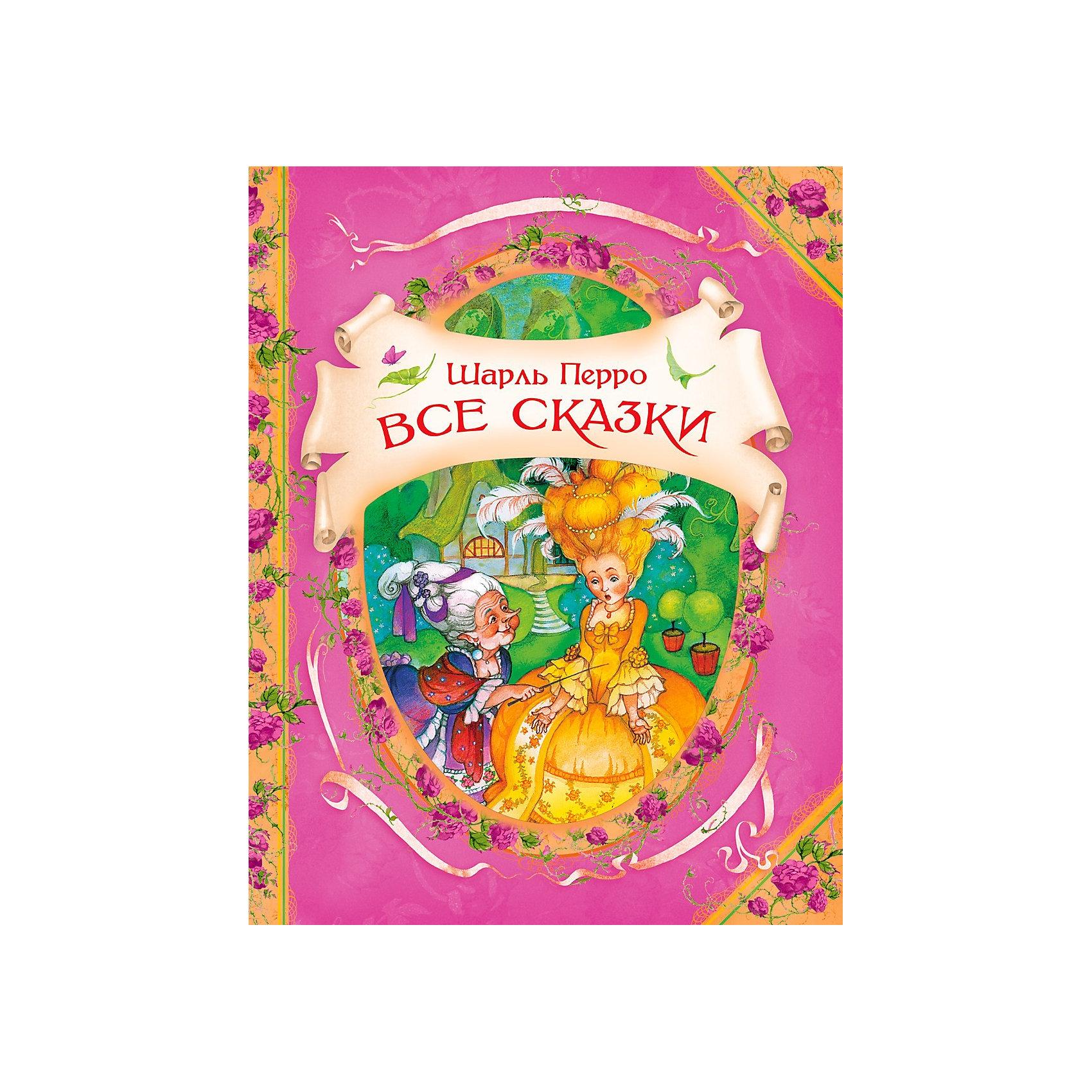 Все сказки, Ш. ПерроКниги для девочек<br>В сборнике Все сказки от Росмэн представлены самые извесные и популярные сказки  великого и любимого детского писателя Шарля Перро, такие как Кот в сапогах, Золушка, или Хрустальная туфелька, Спящая красавица, Красная шапочка, Ослиная Шкура и другие.<br><br>Книга дополнена чудесными иллюстрациями художницы Ольги Ионайтис и имеет особое оформление (фигурная вырубка на обложке, фольга, мелованная бумага), что делает ее замечательным подарком для юных любителей сказок.<br><br>Перевод А. Введенского, А. Федорова, Т. Габбе, М. Булатова. Тексты сказок издаются несокращённые и в оригинале.<br><br>Дополнительная информация:<br><br>Тип переплета (Обложка): твердый<br>Формат (мм): 196х255<br>Количество страниц: 128 стр.<br>ISBN: 978-5-353-05693-5<br>Наличие иллюстраций: цветные<br><br>Ширина мм: 180<br>Глубина мм: 140<br>Высота мм: 20<br>Вес г: 100<br>Возраст от месяцев: 60<br>Возраст до месяцев: 84<br>Пол: Унисекс<br>Возраст: Детский<br>SKU: 3177452