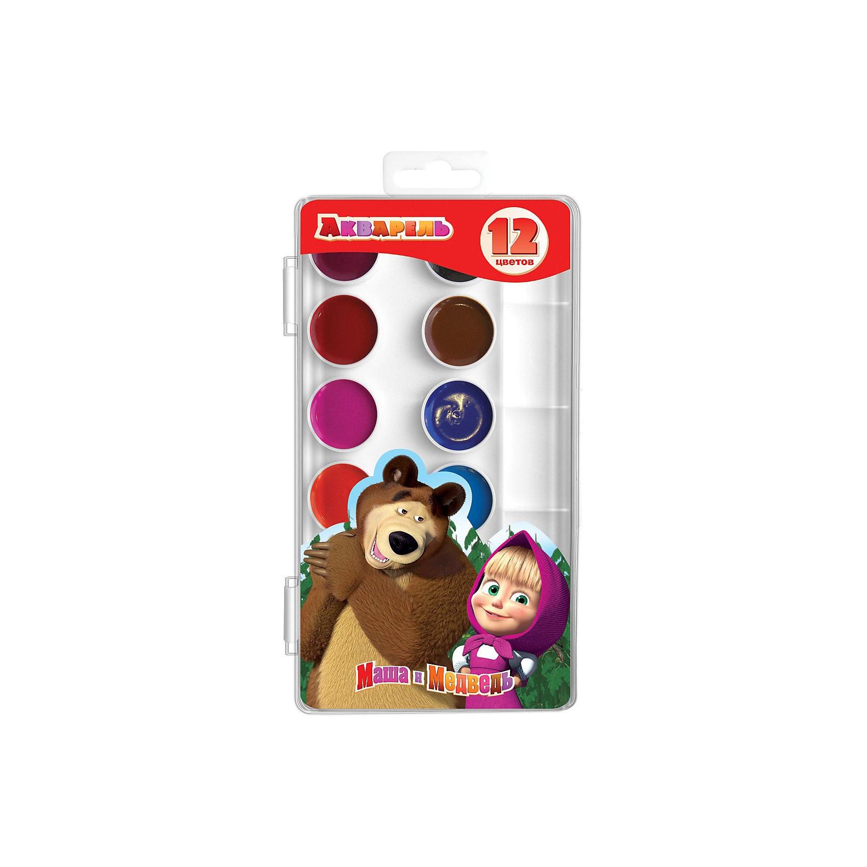 Росмэн Акварель 12 цветов Маша и Медведь краски маша и медведь набор для рисования рисуем с машей