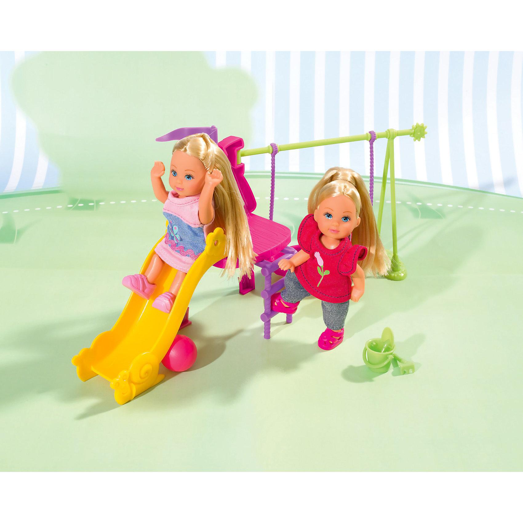 Набор Две Еви на детской игровой площадке, Steffi LoveВаша дочка непременно придет в восторг, получив в подарок Набор Две Еви на детской игровой площадке, Steffi Love (Штеффи Лав).<br><br>Еви как всегда стильно одеты. Одна Еви одета в светло-розовое с синим платье и светло-розовые кроссовки, а на второй - темно-розовая маечка с цветочком, серые штанишки и темно-розовые сандалии. Одежду и обувь при желании можно снять. Шикарные длинные волосы кукол можно расчесывать. <br><br>Характеристики:<br>-Подвижные ручки и ножки<br>-Компактный набор<br>-Развитие творческих способностей, фантазии, воображения, внимательности, мелкой моторики и координации<br><br>Комплектация: 2 куклы, горка, качели, мячик, совочек, ведерко, грабельки<br><br>Дополнительная информация:<br><br>- Размер: 9х32х16,5 см<br>- Размер куклы: 12 см<br>- Материалы: пластмасса<br><br>Играя с куклами этого набора, ваша девочка придумает множество сюжетно-ролевых игр.<br>И, конечно, забота о кукле воспитает в девочке все самые положительные качества!<br><br>Набор Две Еви на детской игровой площадке, Steffi Love (Штеффи Лав) можно купить в нашем магазине.<br><br>Ширина мм: 327<br>Глубина мм: 167<br>Высота мм: 93<br>Вес г: 310<br>Возраст от месяцев: 36<br>Возраст до месяцев: 60<br>Пол: Женский<br>Возраст: Детский<br>SKU: 3178480