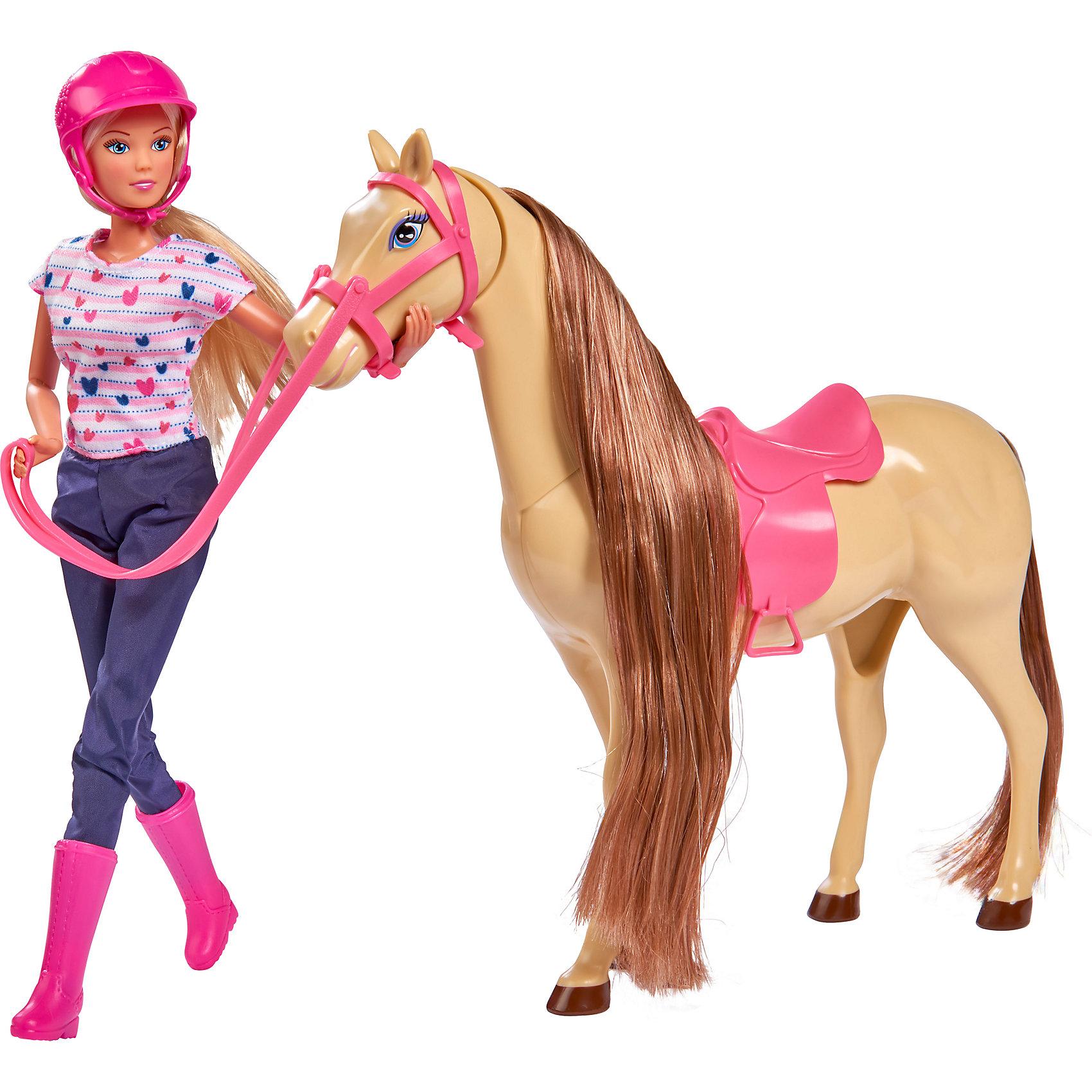 Кукла Штеффи верхом на лошади, 29 см, SimbaSteffi и Evi Love<br>Характеристики товара:<br><br>- цвет: разноцветный;<br>- материал: пластик;<br>- возраст: от трех лет;<br>- комплектация: кукла, аксессуары, лошадь;<br>- высота куклы: 29 см.<br><br>Эта симпатичная кукла Штеффи от известного бренда не оставит девочку равнодушной! Какая девочка сможет отказаться поиграть с куклами, которые дополнены очаровательной лошадью?! В набор входят аксессуары для игр с куклой. Игрушка очень качественно выполнена, поэтому она станет замечательным подарком ребенку. <br>Продается набор в красивой удобной упаковке. Игры с куклами помогают девочкам развить важные навыки и отработать модели социального взаимодействия. Изделие произведено из высококачественного материала, безопасного для детей.<br><br>Куклу Штеффи верхом на лошади от бренда Simba можно купить в нашем интернет-магазине.<br><br>Ширина мм: 337<br>Глубина мм: 301<br>Высота мм: 112<br>Вес г: 652<br>Возраст от месяцев: 36<br>Возраст до месяцев: 72<br>Пол: Женский<br>Возраст: Детский<br>SKU: 3178483