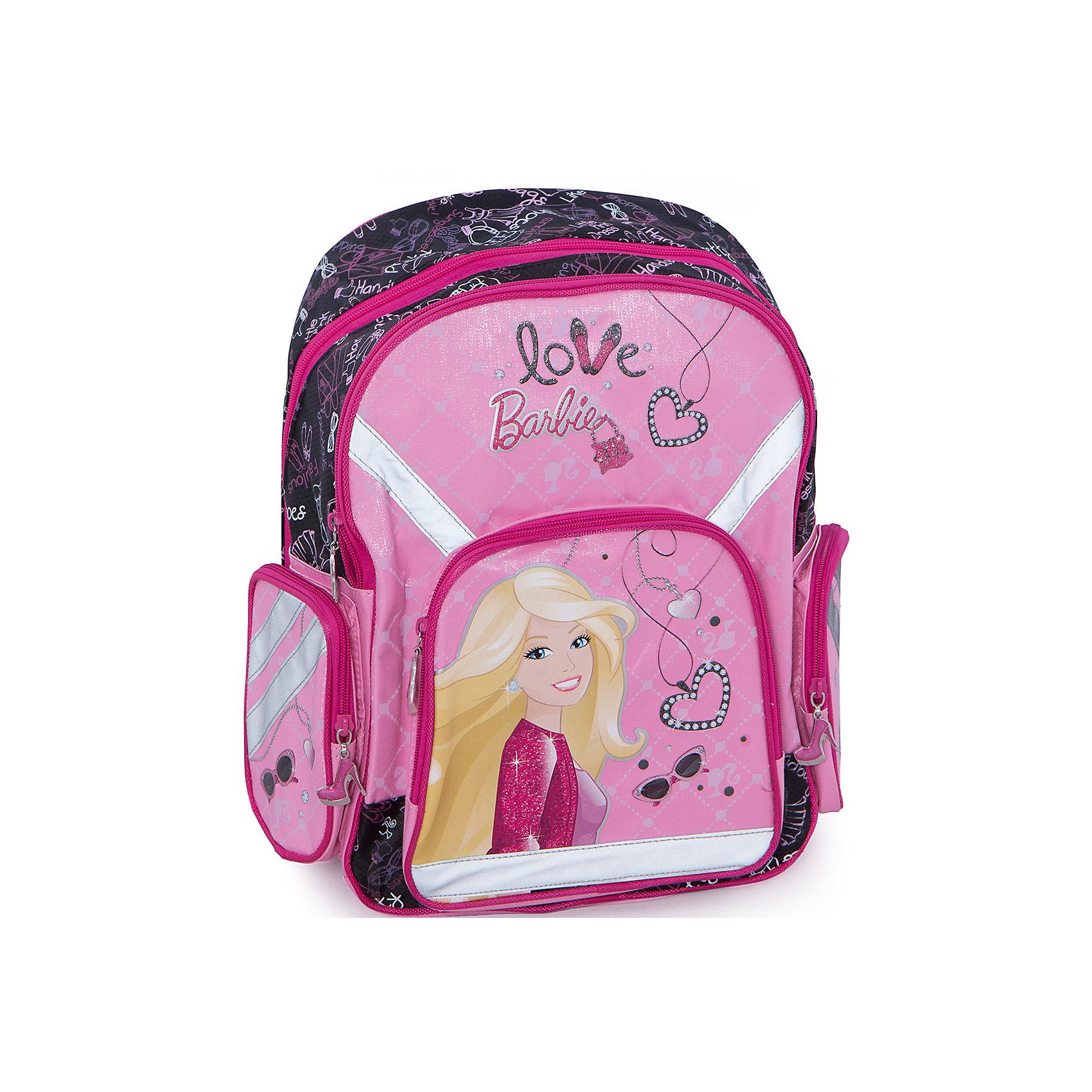 Ортопедический рюкзак Barbie с EVA-спинкойBarbie Рюкзак ортопедический с  EVA-спинкой от любимого бренда Barbie У рюкзака: три отделения на молнии, по бокам два кармана. Внутри основного отделения, есть разделитель для учебников и тетрадей. <br>Размер: 38 х 36 х 18 см<br><br>Ширина мм: 380<br>Глубина мм: 360<br>Высота мм: 180<br>Вес г: 740<br>Возраст от месяцев: 84<br>Возраст до месяцев: 144<br>Пол: Женский<br>Возраст: Детский<br>SKU: 3178606