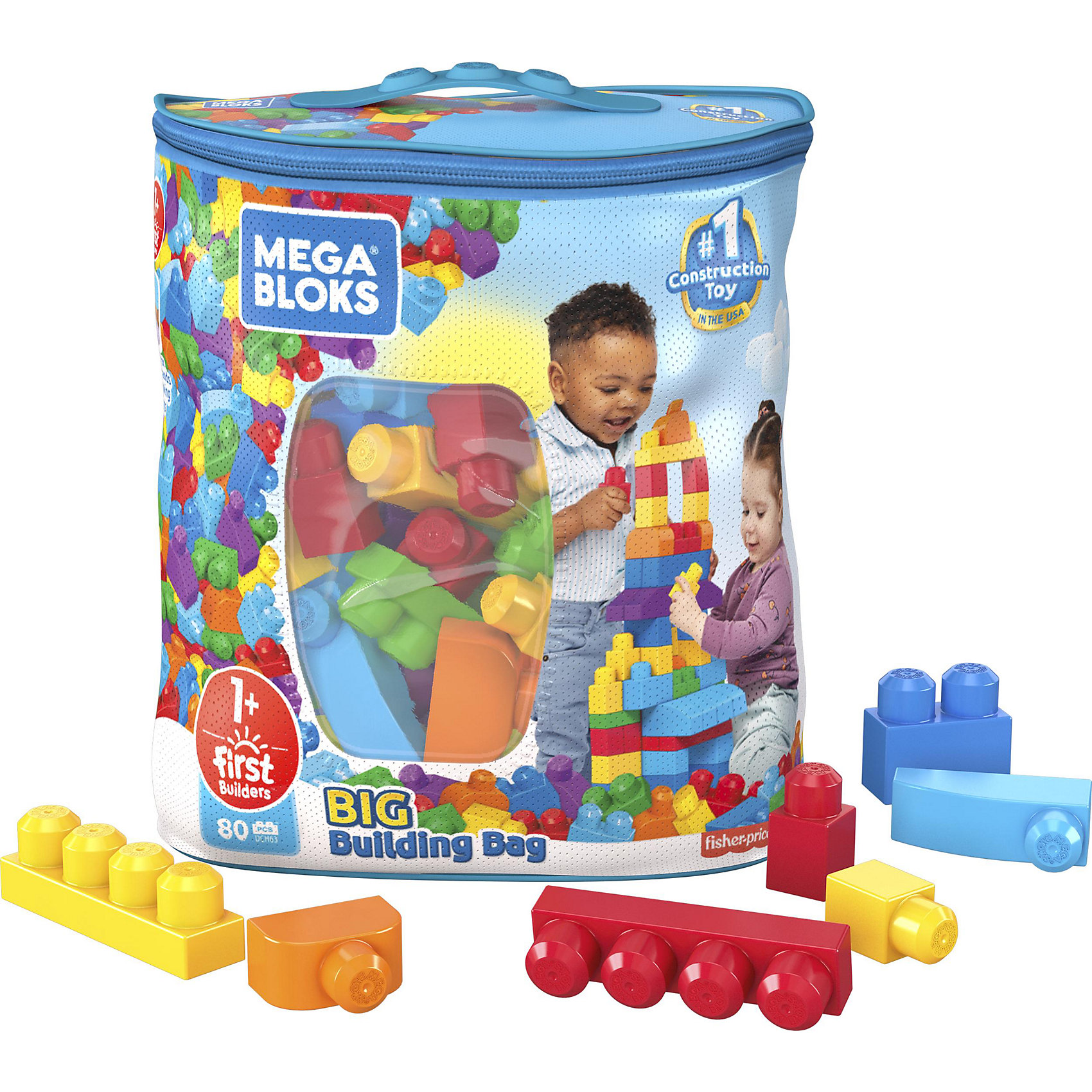 MEGA BLOKS Конструктор 80 деталей First Builders, MEGA BLOKS конструктор mega bloks first builders deluxe