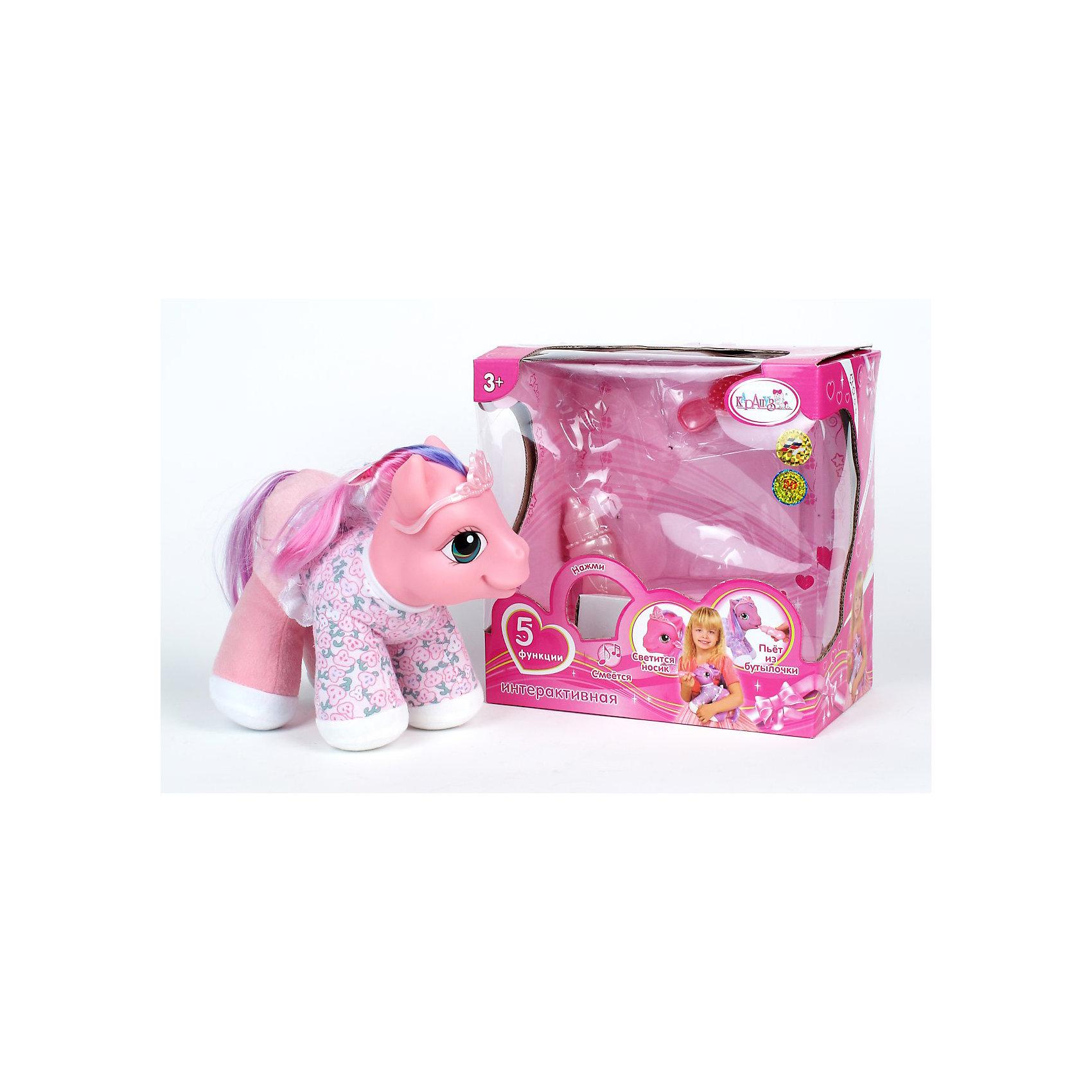Любимая пони КарапузПопулярные игрушки<br>Любимая пони с 3 функциями. На батарейках, со световыми функциями, пьет из бутылочки, чмокает, смеется. В комплекте аксессуары - бутылочка и расческа, цвет розовый.<br><br>Ширина мм: 250<br>Глубина мм: 240<br>Высота мм: 140<br>Вес г: 770<br>Возраст от месяцев: 36<br>Возраст до месяцев: 144<br>Пол: Женский<br>Возраст: Детский<br>SKU: 3180962