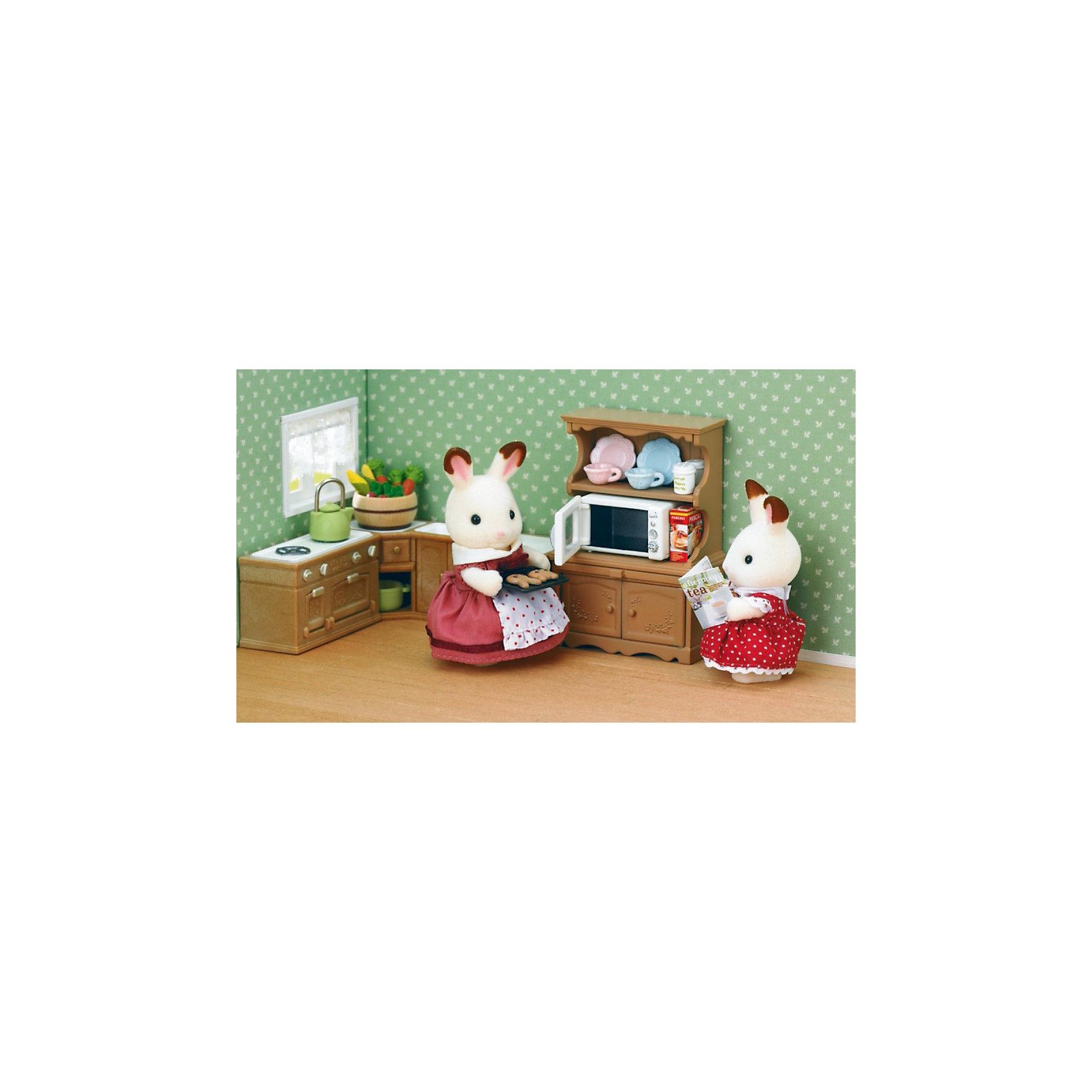 Набор Буфет с микроволновой печью Sylvanian FamiliesSylvanian Families<br>Каждой хозяйке нужна кухня, которая как следует обставлена необходимой мебелью и приборами, чтобы все было под рукой, когда она готовит вкусную еду для своих домашних. Разместить посуду, различные крупы и специи можно в удобном и красивом буфете, который будет вписываться в кухонный интерьер.<br><br>В наборе Буфет с микроволновой печью от Sylvanian Families (Сильваниан Фэмилиес):<br>- буфет, <br>- микроволновая печь, <br>- тарелки, <br>- чашки, <br>- поднос, <br>- пирог, <br>- коробки с продуктами<br>- аксессуары.<br><br>Размеры: 11,5 x10x5,2 см.<br><br>Ширина мм: 120<br>Глубина мм: 50<br>Высота мм: 100<br>Вес г: 125<br>Возраст от месяцев: 36<br>Возраст до месяцев: 144<br>Пол: Женский<br>Возраст: Детский<br>SKU: 3181209