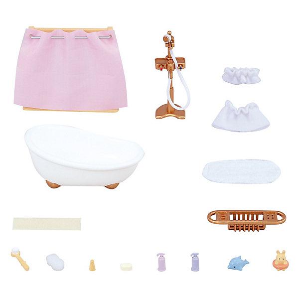 Набор Ванная комната мини Sylvanian FamiliesSylvanian Families<br>В мини-наборе Ванная комната есть всё необходимое, чтобы как следует помыть милых зверюшек Sylvania Families (Сильваниан Фэмилиес): это и белоснежная глубокая ванна с гибким душем, коврик,шторка, корзинка для грязного белья, пара накидоки много разных аксессуаров для мытья:мыльница, мыло, мочалка, щётка, крошечные игрушечкидля ванной и еще несколько пузырьков разной косметики.<br><br>Размеры: 20 x15x5 см.<br>Ширина мм: 135; Глубина мм: 121; Высота мм: 78; Вес г: 144; Возраст от месяцев: 36; Возраст до месяцев: 72; Пол: Женский; Возраст: Детский; SKU: 3181210;