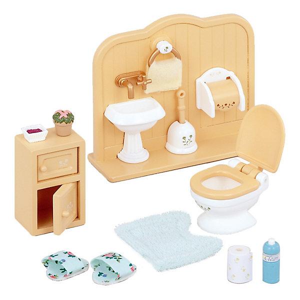Набор Туалетная комната Sylvanian FamiliesSylvanian Families<br>Набор Туалетная комната со скрупулёзностью, которой славятся наборы Sylvanian Families (Сильваниан Фэмилиес), воспроизводит обстановку и бытовые мелочи туалетной комнаты. Все необходимые предметы, вплоть до туалетной бумаги и освежителя воздуха - всё крошечное и очень точно имитирующее  изящный оригинал. <br><br>Дополнительная информация:<br>В комплекте:<br>- унитаз,<br>- стенка с раковиной, <br>- туалетная бумага с держателем для нее, <br>- полотенце, <br>- ершик, <br>- чистящее средство, <br>- мягкий коврик, <br>- красивые тапочки, <br>- тумбочка и аксессуары.<br>Размеры упаковки: 11,5 x 10 x 5 см<br><br>Ширина мм: 115<br>Глубина мм: 101<br>Высота мм: 53<br>Вес г: 103<br>Возраст от месяцев: 36<br>Возраст до месяцев: 72<br>Пол: Женский<br>Возраст: Детский<br>SKU: 3181211