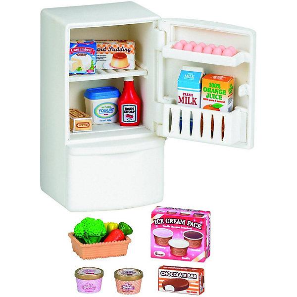 Набор Холодильник с продуктами Sylvanian FamiliesSylvanian Families<br>Ни одна кухня не обходится без холодильника, тем более, если это кухня лесных зверушек Сильваниан Фэмилис. Миниатюрный холодильник для лесной семейки совсем как настоящий. Все необходимые продукты, входящие в комплект, легко помещаются на полках холодильника. Все коробочки и бутылки поражают своей реалистичностью и выглядят совсем как реальные продукты, только намного уменьшенные.<br><br>Дополниетельная информация:<br><br>- вкомплект входят продукты: молоко, сок, пудинг, сыр, йогурт, кетчуп, масло, мороженое, корзиночка с овощами и яйца<br>- размеры холодильника 6х4,5х7,5 см<br><br>Набор Холодильник с продуктами Sylvanian Families можно купить в нашем магазине.<br>Ширина мм: 70; Глубина мм: 60; Высота мм: 140; Вес г: 130; Возраст от месяцев: 36; Возраст до месяцев: 144; Пол: Женский; Возраст: Детский; SKU: 3181213;