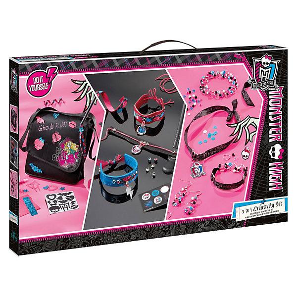 Набор для творчества 3 в 1, Monster HighДругие наборы<br>С этим замечательным набором ты сможешь изготовить или украсить  аксессуары своими руками. Стильные украшения и сумочка в убийственно-модном стиле Monster High выгодно дополнят твой образ или же смогут стать прекрасным подарком подруге. Твори вместе с Школой Монстров! <br><br>Дополнительная информация:<br><br>- Материал: пластик, бумага, текстиль, металл. <br>- Комплектация: детали для украшения сумки; набор для создания уникальных браслетов и подвесок.<br>- Размер упаковки: 35х56 см. <br><br>Набор для творчества 3 в 1, Monster High (Монстр Хай) можно купить в нашем магазине.<br><br>Ширина мм: 565<br>Глубина мм: 358<br>Высота мм: 63<br>Вес г: 675<br>Возраст от месяцев: 72<br>Возраст до месяцев: 144<br>Пол: Женский<br>Возраст: Детский<br>SKU: 3185105