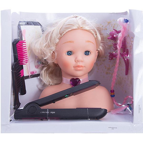 Модель для причесок с утюжком для волос, BRAUNСалон красоты<br>Модель для причесок с утюжком для волос, BRAUN (Браун) – это восхитительный игровой набор для вашего ребенка.<br>Модель для причесок с утюжком Braun для выпрямления волос - это все, что нужно начинающему парикмахеру. С помощью удобного манекена из винила можно научиться создавать различные прически, ухаживать за волосами (расчесывать, мыть), украшать их с помощью всевозможных заколочек. У манекена очаровательное лицо и длинные светлые волосы. Помимо манекена (игрушечной головы), в комплект входят электрический утюжок для выпрямления волос, работающий от батареек, а также различные украшения для волос. При включении утюжок подсвечивается красным светом. Все аксессуары девочка может использовать и сама.<br><br>Дополнительная информация:<br><br>- Возраст: для детей от 3 лет<br>- Материал: винил, пластмасса, текстиль<br>- Для работы игрушки необходима 1 батарейка R6, 1,5V, типа АА (батарейка не входит в комплект)<br>- В наборе: кукольная голова из винила с пышными волосами, щетка, расческа, заколочки, крабики, дополнительная косичка для создания причесок, украшения для волос, утюжок для выпрямления волос BRAUN SATIN HAIR 7<br>- Высота манекена: 25 см.<br>- Размер упаковки: 30 х 29 х 25 см.<br><br>Модель для причесок с утюжком для волос, BRAUN (Браун) от klein (Кляйн) можно купить в нашем интернет-магазине.<br><br>Ширина мм: 305<br>Глубина мм: 255<br>Высота мм: 204<br>Вес г: 919<br>Возраст от месяцев: 36<br>Возраст до месяцев: 72<br>Пол: Женский<br>Возраст: Детский<br>SKU: 3191299