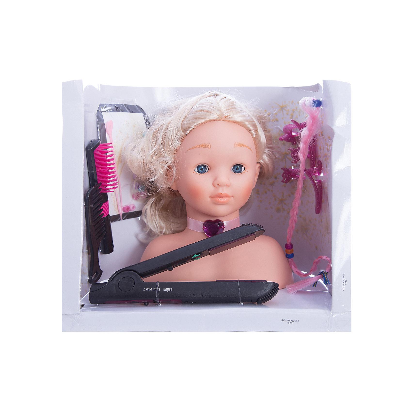 Модель для причесок с утюжком для волос, BRAUNМодель для причесок с утюжком для волос, BRAUN (Браун) – это восхитительный игровой набор для вашего ребенка.<br>Модель для причесок с утюжком Braun для выпрямления волос - это все, что нужно начинающему парикмахеру. С помощью удобного манекена из винила можно научиться создавать различные прически, ухаживать за волосами (расчесывать, мыть), украшать их с помощью всевозможных заколочек. У манекена очаровательное лицо и длинные светлые волосы. Помимо манекена (игрушечной головы), в комплект входят электрический утюжок для выпрямления волос, работающий от батареек, а также различные украшения для волос. При включении утюжок подсвечивается красным светом. Все аксессуары девочка может использовать и сама.<br><br>Дополнительная информация:<br><br>- Возраст: для детей от 3 лет<br>- Материал: винил, пластмасса, текстиль<br>- Для работы игрушки необходима 1 батарейка R6, 1,5V, типа АА (батарейка не входит в комплект)<br>- В наборе: кукольная голова из винила с пышными волосами, щетка, расческа, заколочки, крабики, дополнительная косичка для создания причесок, украшения для волос, утюжок для выпрямления волос BRAUN SATIN HAIR 7<br>- Высота манекена: 25 см.<br>- Размер упаковки: 30 х 29 х 25 см.<br><br>Модель для причесок с утюжком для волос, BRAUN (Браун) от klein (Кляйн) можно купить в нашем интернет-магазине.<br><br>Ширина мм: 305<br>Глубина мм: 255<br>Высота мм: 204<br>Вес г: 919<br>Возраст от месяцев: 36<br>Возраст до месяцев: 72<br>Пол: Женский<br>Возраст: Детский<br>SKU: 3191299
