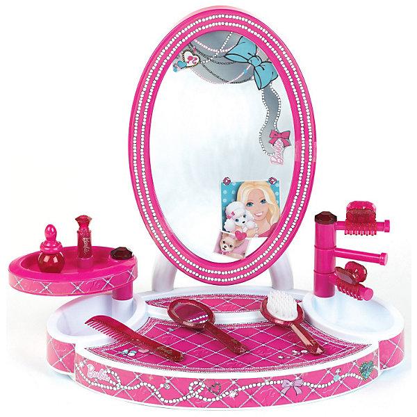 Студия красоты Barbie с аксессуарами, KleinСалон красоты<br>Студия красоты Barbie от Кляйн (Klein) - отличная студия для маленьких модниц. Игровой набор выполнен в виде большого зеркала с платформой, которую можно использовать как туалетный столик, и стойками. В наборе есть все необходимое чтобы экспериментировать в создании модных образов себе и своим любимым куклам: расческа, щетка для волос, флакончик, заколки для волос. Все предметы имеют стильный дизайн и выполнены в приятных ярко-розовых тонах. Столик и рамка зеркала украшены изображением красивого узора из жемчужных нитей.  <br><br>Дополнительная информация:<br><br>- В наборе: большое зеркало со стойками и платформой, щетка, расческа, зеркальце, флакончик, заколки.<br>- Материал: пластик.<br>- Высота столика с зеркалом: 42 см.<br>- Размер упаковки: 52 х 40 х 11 см.<br>- Вес: 1,4 кг.<br><br>Студию красоты Barbie (Барби), Klein, можно купить в нашем интернет-магазине.<br>Ширина мм: 530; Глубина мм: 400; Высота мм: 122; Вес г: 1412; Возраст от месяцев: 36; Возраст до месяцев: 1164; Пол: Женский; Возраст: Детский; SKU: 3191302;