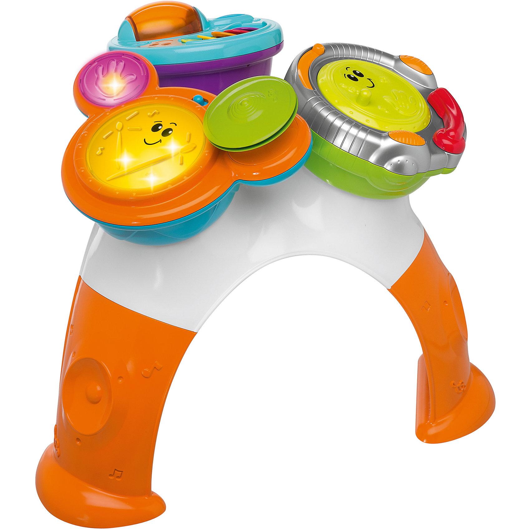 Музыкально-игровой столик DJ (консоль, барабаны, маракасы), ChiccoИгрушки для малышей<br>Музыкально-игровой столик DJ (консоль, барабаны, маракасы), Chicco (Чико) – это настоящий музыкальный центр.<br>Музыкально-игровой столик DJ с 8 игровыми режимами не позволит скучать вашему малышу. На столике установлены три игровых элемента. Один из них представляет собой DJ консоль (ди-джейский пульт) на котором диск вращается со скретч-эффектом, бегунок передвигается из стороны в сторону со звуком трещотки. На другом элементе (маракасы) расположены разноцветные створки с нотками и прозрачная вращающаяся сфера. Внутри нее находятся маленькие шарики, которые перекатываются и задорно гремят при вращении. Третий элемент со световыми эффектами выполнен в виде барабанной установки с тарелками. Она предусматривает три режима: создай ритм - ребенок свободно играет на барабанах, извлекая различные звуковые эффекты, выражая свое творческое начало; придерживайся такта - малыш старается играть на ударных в такт мелодии; сочини песню - ребенок сочиняет собственные произведения в различных стилях. Элементы легко снимаются, ими можно играть отдельно. Музыкально-игровой столик DJ способствует развитию звукового восприятия, музыкального слуха, чувства ритма, а также мышления, воображения и творческих способностей. Он выполнен из прочного безопасного пластика ярких цветов.<br><br>Дополнительная информация:<br><br>- Материал: пластик<br>- Батарейки: 2 шт. типа ААА (не входят в комплект)<br>- Размер упаковки: 49 х 49 х 35 см.<br><br>Музыкально-игровой столик DJ (консоль, барабаны, маракасы), Chicco (Чико) можно купить в нашем интернет-магазине.<br><br>Ширина мм: 392<br>Глубина мм: 228<br>Высота мм: 502<br>Вес г: 4380<br>Возраст от месяцев: 9<br>Возраст до месяцев: 48<br>Пол: Унисекс<br>Возраст: Детский<br>SKU: 3191316