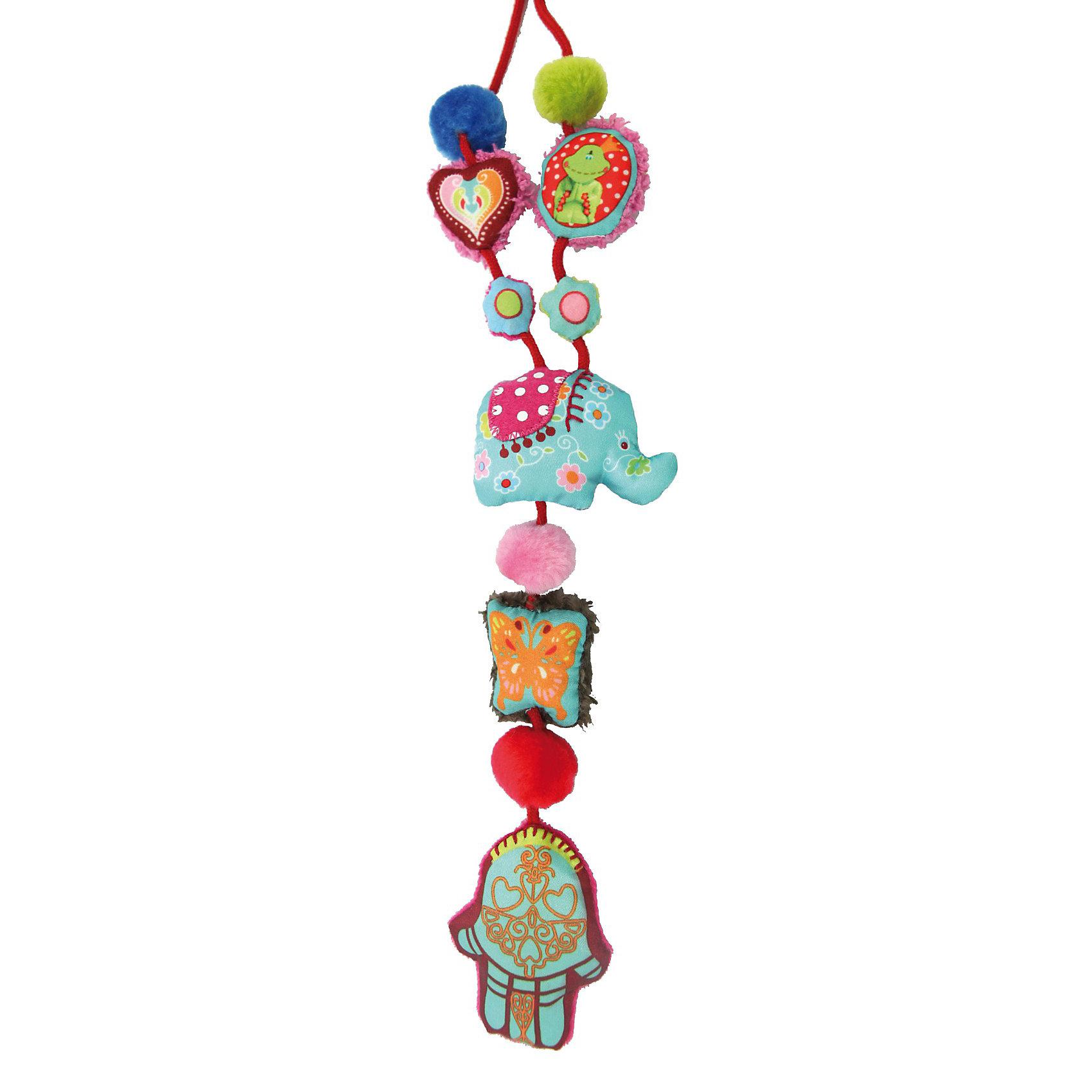 DUSHI Ожерелье Индия коллекции Мама&amp;малышМягкие игрушки<br>Стильное украшение - полезная игрушка облегчает непростые заботы мамы о малыше в различных ситуациях.<br><br>Отличное решение для любознательных ручек, которые всегда тянутся к дорогим маминым украшениям или родинке на шее!<br><br>Даже самый непоседливый кроха моментально увлечется игрой с нежными текстильными частями колье, различными полосочками и ярлычками, маленьким зеркальцем или мягкой звездочкой, которую так увлекательно щупать пальчиками.<br><br>Вместо того чтобы крошечные ручки теребили Ваши дорогие украшения, дизайнерские сережки или родинки на шее, добычей малыша станет специально созданное для развития детских пальчиков ожерелье из коллекции «Мама&amp;малыш». Любое колье этой серии  разработано прежде всего из соображений безопасности: мягкое, без жестких частей, острых краев и бусин, которые могут оторваться.<br><br>Яркие цвета, крупные образы, мягкая ткань и различные звуковые эффекты будут привлекать внимание ребенка в течение долгого времени. Больше никакого напряжения в ожидании приема у доктора или смущения в очереди в супермаркете. Кроме того ожерелье выглядит так стильно и привлекательно, что даже самые модные мамы захотят иметь такое! Что говорить о маленьких красотках, которые всегда подражают своей маме и желают быть такой же модной и красивой, как она?<br><br>А ваши друзья, у которых есть активный и любознательный малыш, будут очень рады такому оригинальному и нужному подарку!<br><br>Дополнительная информация:<br><br>Носить такое колье могут все: оно имеет безопасную застежку специальной конструкции.<br>Для использования с рождения (надевать на шею взрослому)<br>Все изделия от DUSHI соответствуют последним требованиям безопасности Европейского сообщества и нормативов EN71 в отношении детских товаров.<br><br>Ширина мм: 280<br>Глубина мм: 180<br>Высота мм: 25<br>Вес г: 110<br>Возраст от месяцев: 0<br>Возраст до месяцев: 36<br>Пол: Унисекс<br>Возраст: Детский<br>SKU: 3193331