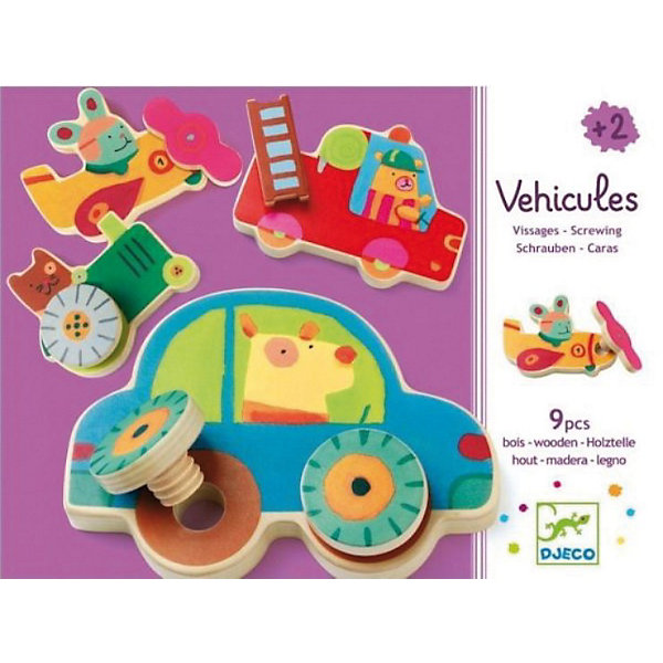 Развивающая игра Прикрути колесо, DJECOКонструкторы для малышей<br>Развивающая игра «Прикрути колесо» -  вариант конструктора для самых маленьких. В наборе 9 деревянных красочных деталей с изображениями забавных зверюшек - водителей: трактор, самолетик, легковая машинка, пожарная машинка и другие виды транспорта. Малыш должен дополнить машинки недостающими деталями, например, к машинке прикрутить колеса, к самолету винт, к пожарной машине - лестницу.<br><br>Дополнительная информация:<br><br>- В комплекте: 9 деревянных деталей.<br>- Материал: дерево.<br>- Размер упаковки: 23 х 12 х 4,3 см.<br>- Вес: 0,345 кг.<br><br>Игра улучшает мелкую моторику, разовьет логическое мышление и память<br><br>Развивающую игру Прикрути колесо DJECO (Джеко) можно купить в нашем магазине.<br><br>Ширина мм: 270<br>Глубина мм: 250<br>Высота мм: 50<br>Вес г: 710<br>Возраст от месяцев: 24<br>Возраст до месяцев: 48<br>Пол: Унисекс<br>Возраст: Детский<br>SKU: 3193399