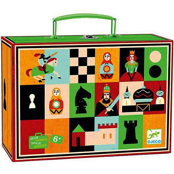Настольная игра Шахматы и шашки, DJECOСпортивные настольные игры<br>Набор Шахматы и шашки DJECO (Джеко) совмещает в себе две классические, хорошо знакомые всем игры: шахматы и шашки. Игровая доска имеет красочный, оригинальный дизайн: по краям поля вместо букв и цифр яркие картинки. Игровой комплект помещается в удобный переносной чемоданчик, который удобно брать с собой в поездки и путешествия.<br> <br>Дополнительная информация:<br><br>- Материал: дерево, картон. <br>- Размер упаковки: 20 x 14 x 6 см.<br>- Вес с упаковкой: 0.5 кг. <br><br>Игра в шахматы и шашки развивает логическое и стратегическое мышление, внимательность и умение просчитывать свои шаги вперед.<br><br>Настольная игра Шахматы и шашки DJECO (Джеко) можно купить в нашем магазине.<br><br>Ширина мм: 220<br>Глубина мм: 170<br>Высота мм: 80<br>Вес г: 500<br>Возраст от месяцев: 60<br>Возраст до месяцев: 1188<br>Пол: Унисекс<br>Возраст: Детский<br>SKU: 3193407