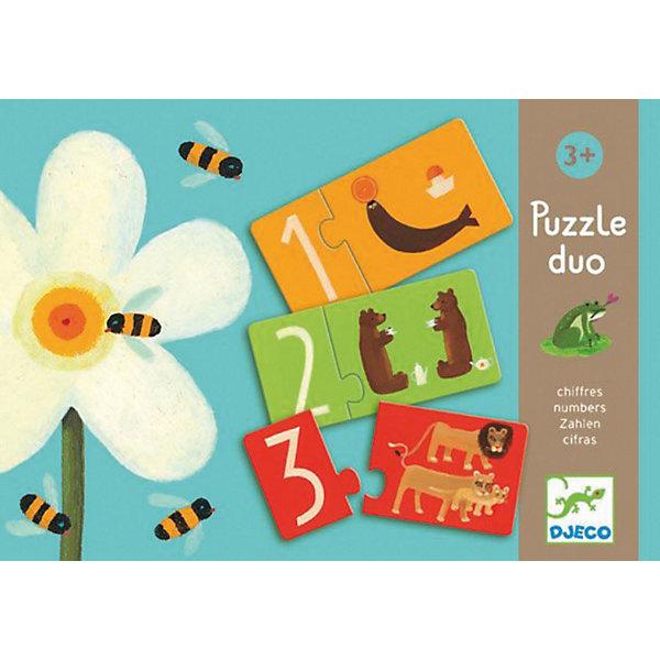 Игра Пары - цифры, DJECOПособия для обучения счёту<br>Игра Пары - цифры-  увлекательный красочный пазл, который поможет малышу освоить цифры и счет. В наборе 10 пазлов, на одной половинке которых изображены цифры, а на другой забавные животные, в количестве соответствующем цифре, например половинка пазла 2 соединяется с половинкой на которой изображены два медведя. Для облегчения задачи малышу обе половинки имеют одинаковый цвет. Цель игры -  правильно соединить половинки пазла в одну картинку. Все картинки очень яркие и красочные, что дополнительно привлечет внимание ребенка.<br><br>Дополнительная информация:<br><br>- В комплекте: 10 пазлов.<br>- Материал: трехслойный картон.<br>- Размер карточки: 9,5 х 4,5 см.<br>- Размер упаковки: 22х22х3 см<br>- Вес: 0,3 кг.<br><br>Игра способствует развитию логического мышления, навыкам счета, внимательности.<br><br>Игру Пары - цифры DJECO (Джеко) можно купить в нашем магазине.<br><br>Ширина мм: 220<br>Глубина мм: 220<br>Высота мм: 30<br>Вес г: 500<br>Возраст от месяцев: 24<br>Возраст до месяцев: 36<br>Пол: Унисекс<br>Возраст: Детский<br>SKU: 3193416