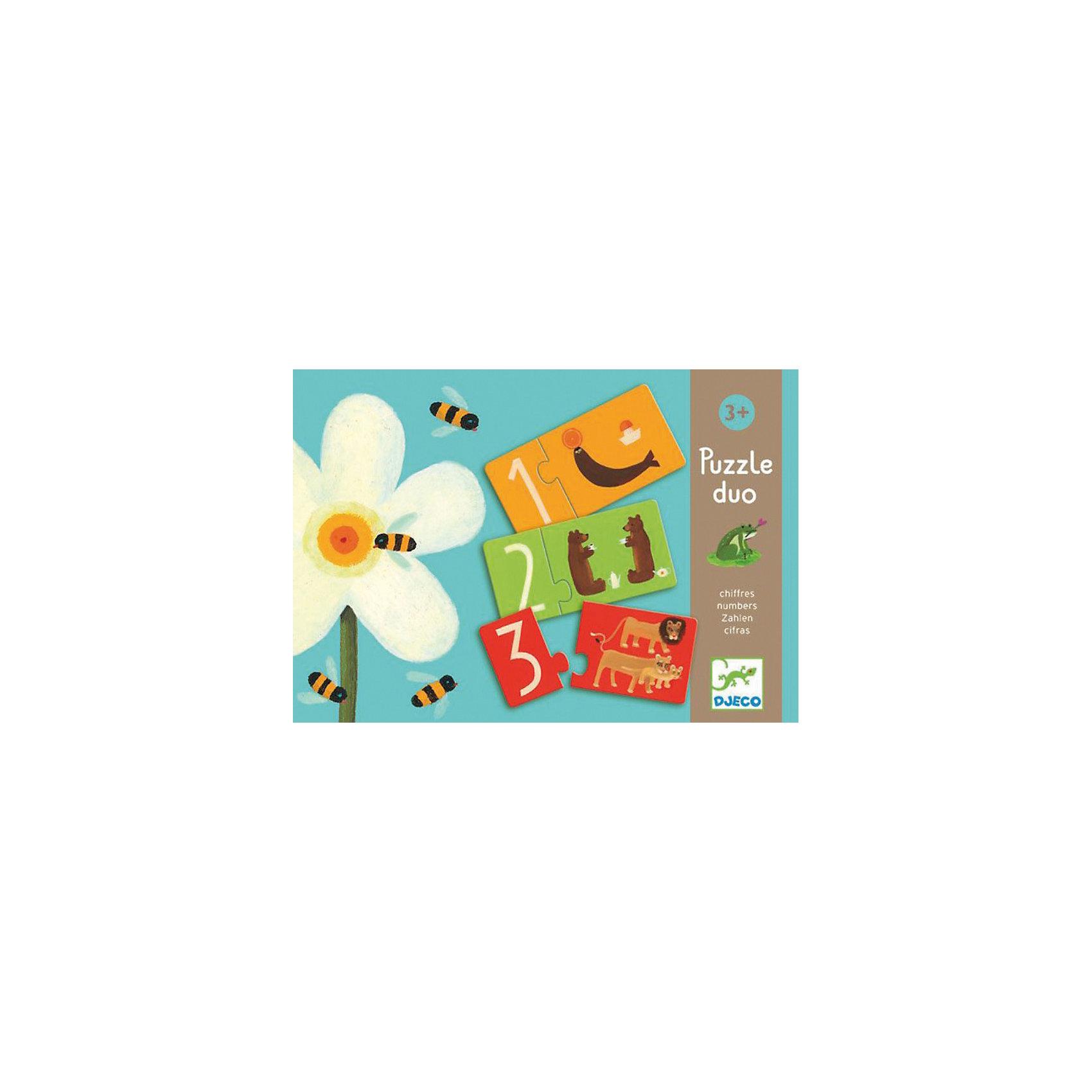 Игра Пары - цифры, DJECOИгра Пары - цифры-  увлекательный красочный пазл, который поможет малышу освоить цифры и счет. В наборе 10 пазлов, на одной половинке которых изображены цифры, а на другой забавные животные, в количестве соответствующем цифре, например половинка пазла 2 соединяется с половинкой на которой изображены два медведя. Для облегчения задачи малышу обе половинки имеют одинаковый цвет. Цель игры -  правильно соединить половинки пазла в одну картинку. Все картинки очень яркие и красочные, что дополнительно привлечет внимание ребенка.<br><br>Дополнительная информация:<br><br>- В комплекте: 10 пазлов.<br>- Материал: трехслойный картон.<br>- Размер карточки: 9,5 х 4,5 см.<br>- Размер упаковки: 22х22х3 см<br>- Вес: 0,3 кг.<br><br>Игра способствует развитию логического мышления, навыкам счета, внимательности.<br><br>Игру Пары - цифры DJECO (Джеко) можно купить в нашем магазине.<br><br>Ширина мм: 220<br>Глубина мм: 220<br>Высота мм: 30<br>Вес г: 500<br>Возраст от месяцев: 24<br>Возраст до месяцев: 36<br>Пол: Унисекс<br>Возраст: Детский<br>SKU: 3193416