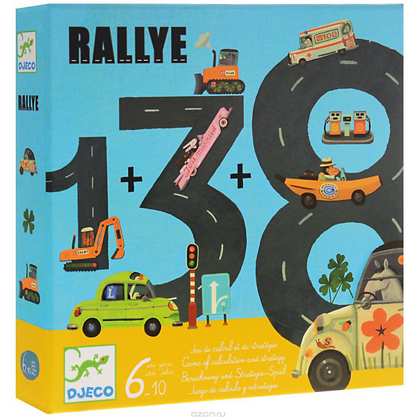 Игра Ралли, DJECOНастольные игры для всей семьи<br>Чтобы победить в этих гонках и правильно определить дистанцию пробега, необходимы смекалка, стратегия, а главное - умение считать! <br>Правила игры просты: каждый игрок получает по 6 карт. Оставшиеся карты кладутся стопкой рубашкой вверх. Из этой колоды игроки берут карты и делают ход по очереди. Сумма двух чисел выпавших на кубике — это количество километров, которое нужно пройти, а цифры на картах — количество километров, которые нужно сложить или вычесть так, что бы получить нужное число. При этом можно выложить 1,2 и 3 карты.<br><br>Дополнительная информация:<br><br>- в комплекте: 45 карт, 9 фишек-машинок, 2 игральных кубика.<br><br>Игра Ралли, DJECO - увлекательная карточная игра, которая способствует развитию и тренировке базовых знаний по математике!<br><br>Игру Ралли, DJECO можно купить в нашем магазине.<br><br>Ширина мм: 210<br>Глубина мм: 210<br>Высота мм: 45<br>Вес г: 400<br>Возраст от месяцев: 72<br>Возраст до месяцев: 120<br>Пол: Мужской<br>Возраст: Детский<br>SKU: 3193426